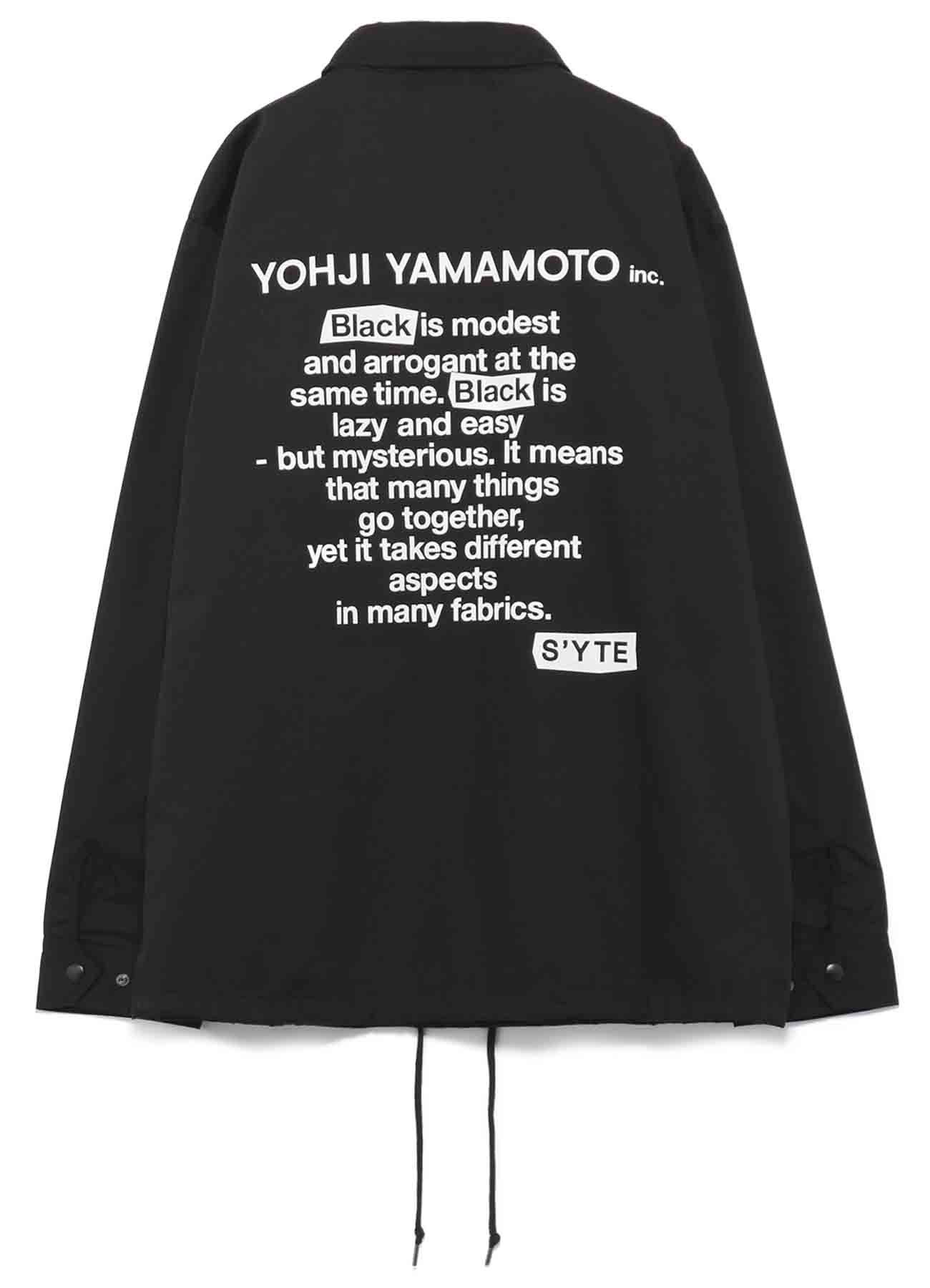 T/C Whether「Black Is Modest」Message Coach Jacket