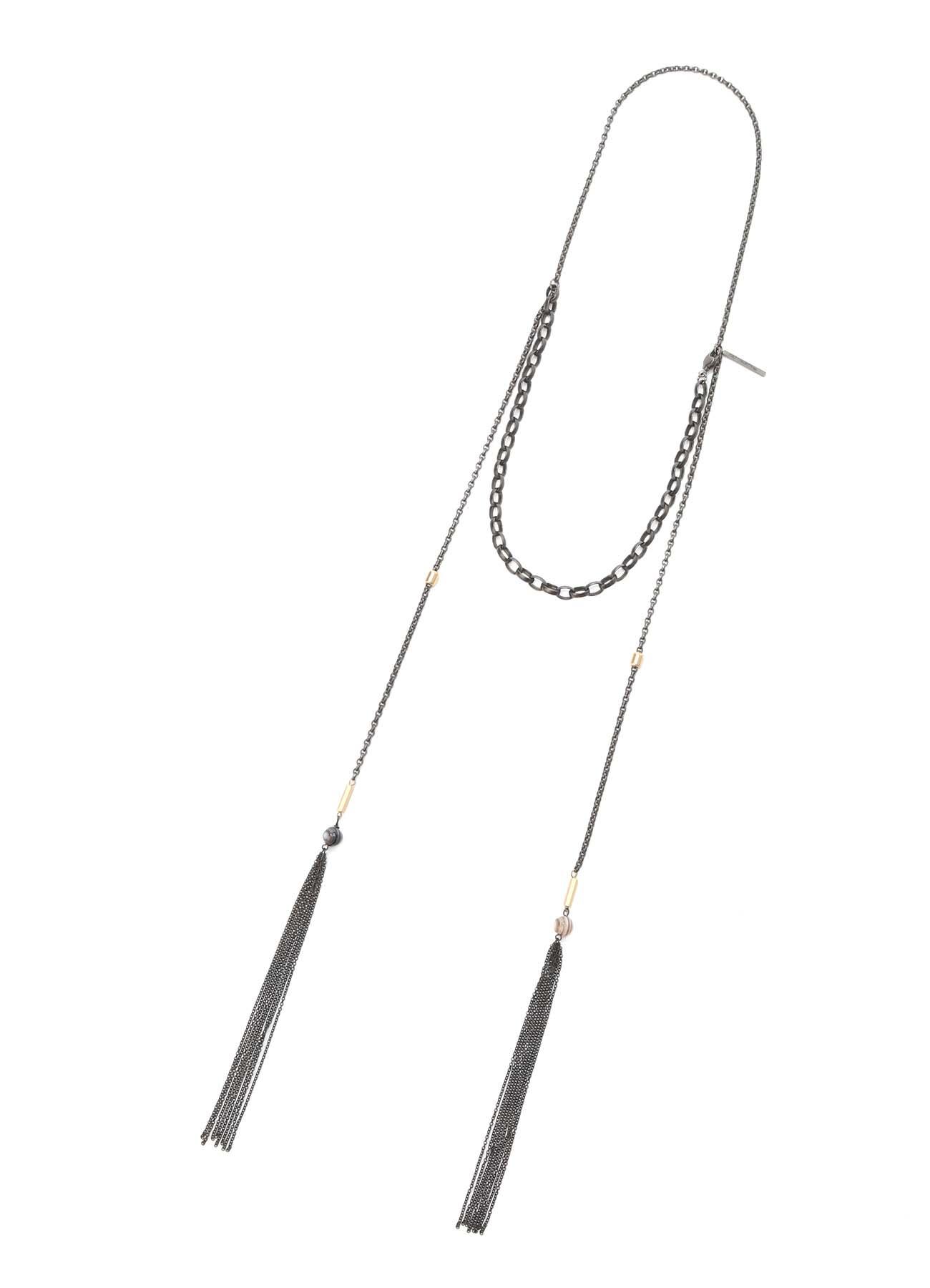 W-Tassel Chain Agate Necklace