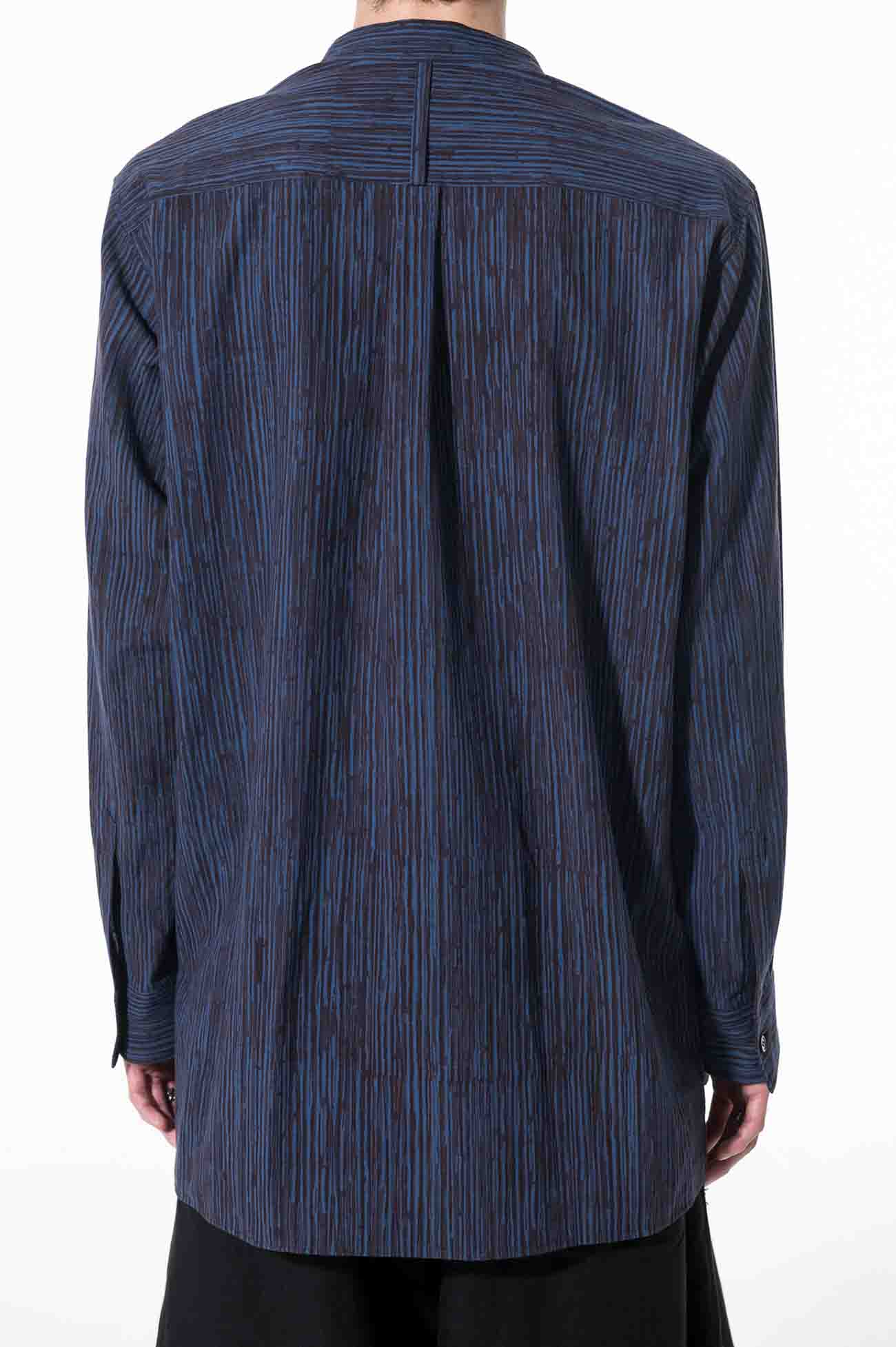 Indian Mulch Stripe Stand Collar Fly Front Shirt