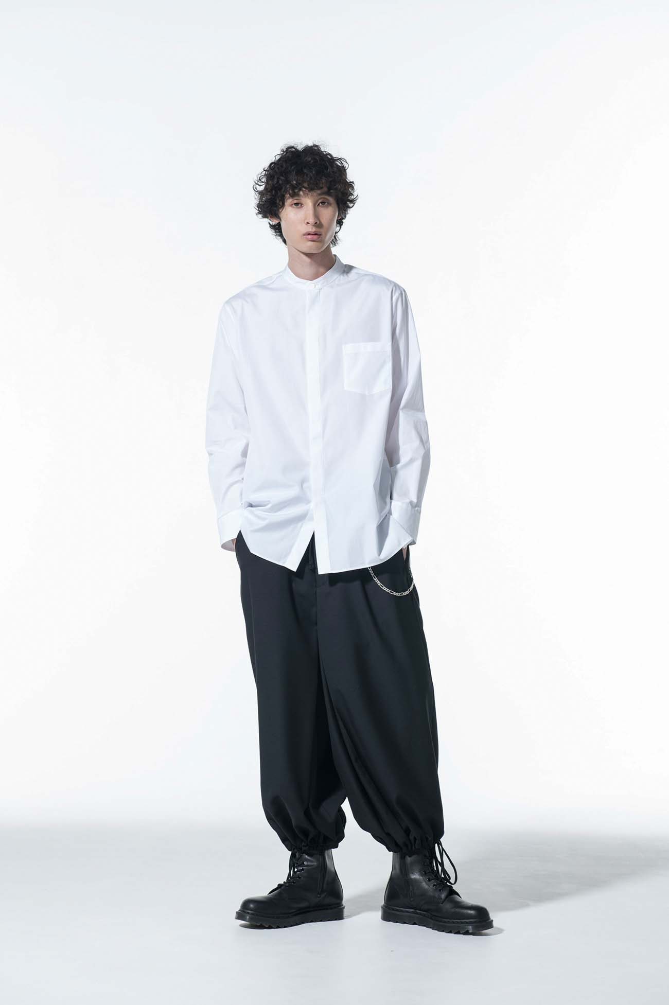 100/2 Broad Stand Collar Fly Front Shirt