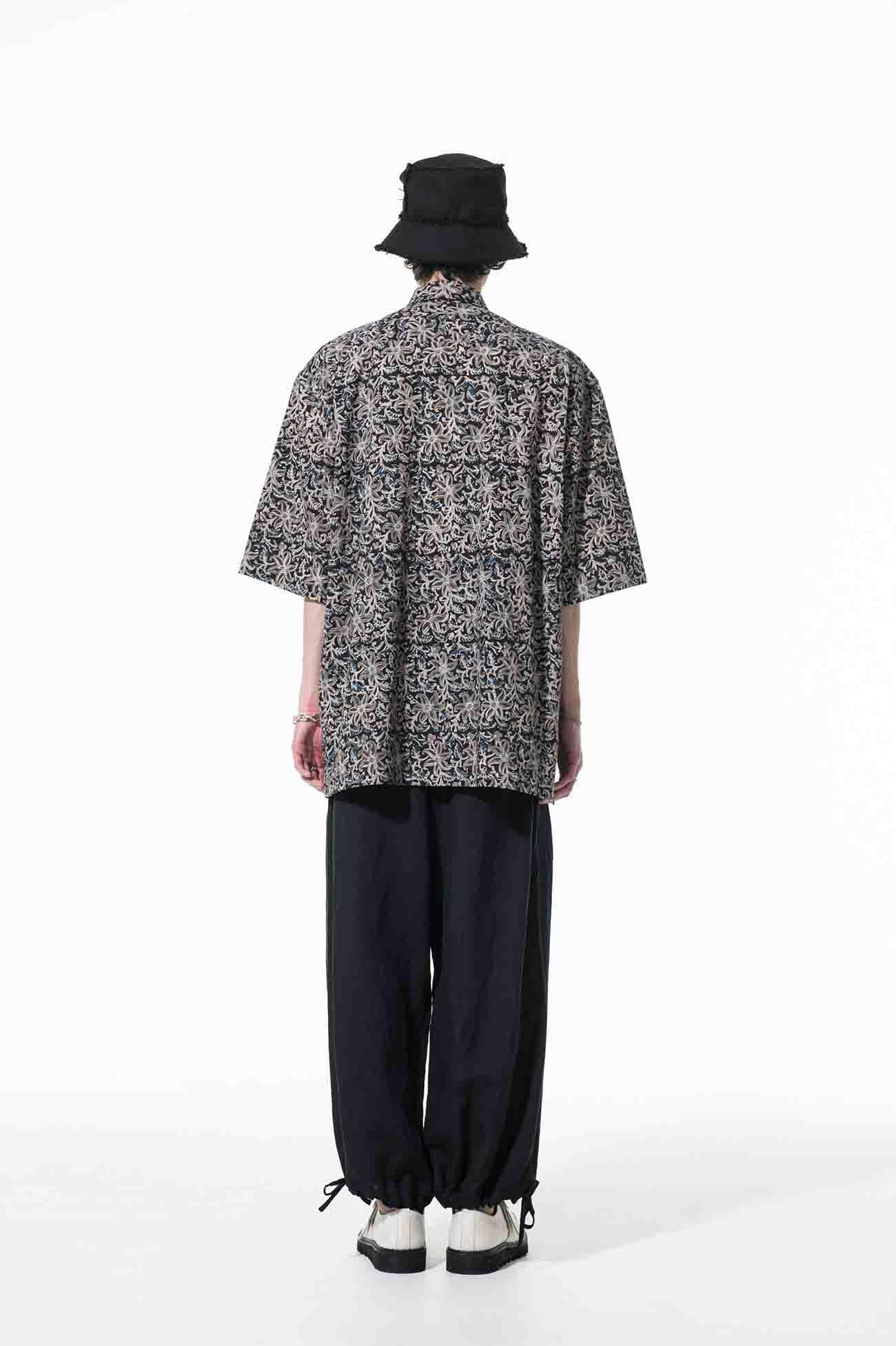 Indian Botanical Blue Block Print Double Pocket Regular Big shirt