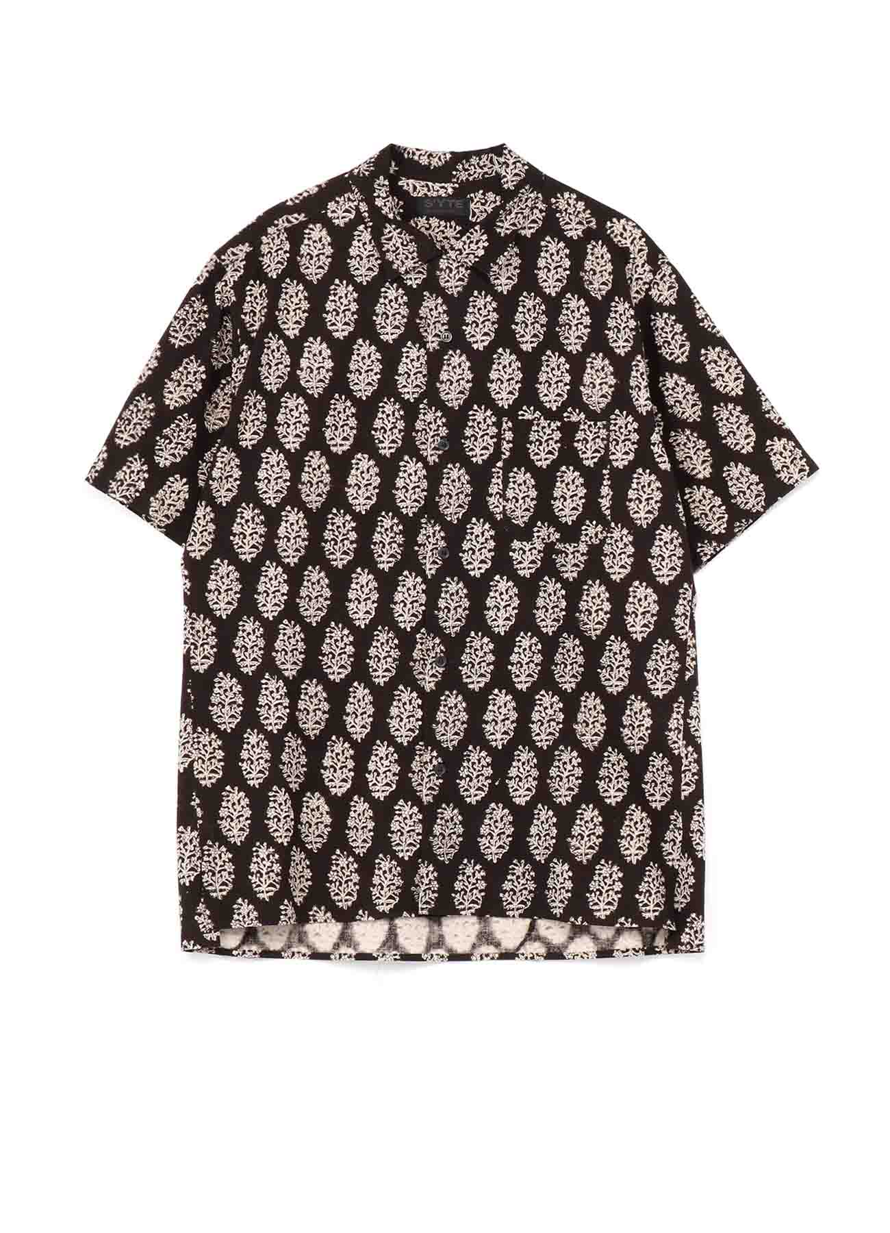 Indian Botanical Black Block Print Open collar Lose Fit Short Sleeve Shirt