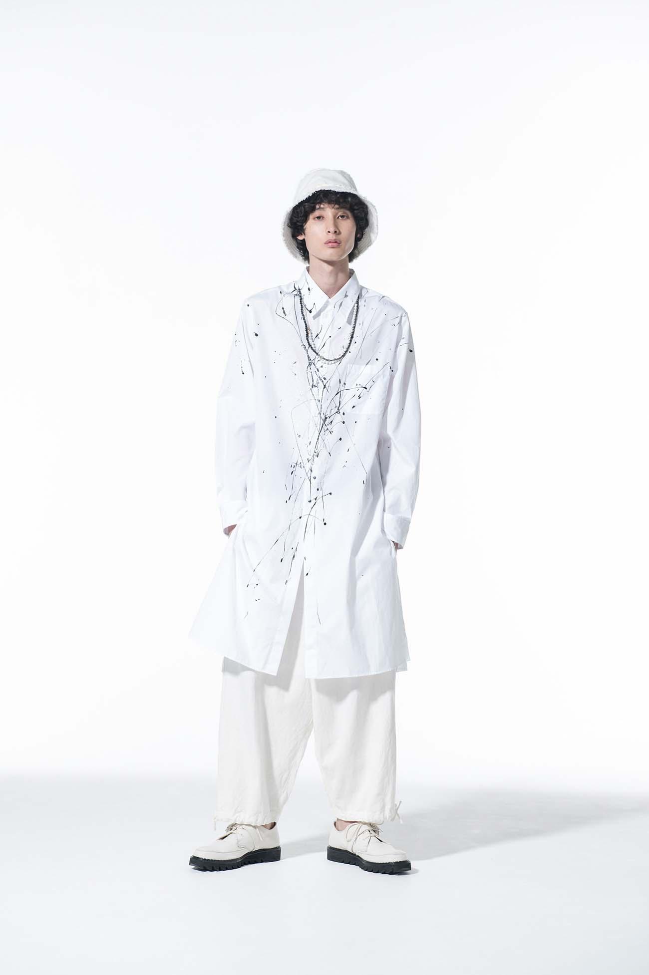 100/2 Broad Splash Paint Processing White Long Shirt