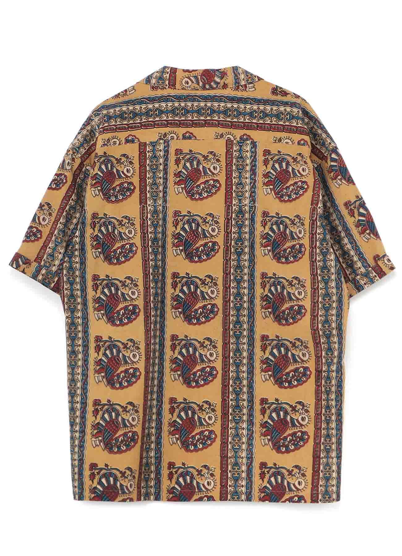 Indian Block Print Peacock Big Short Sleeve Shirt