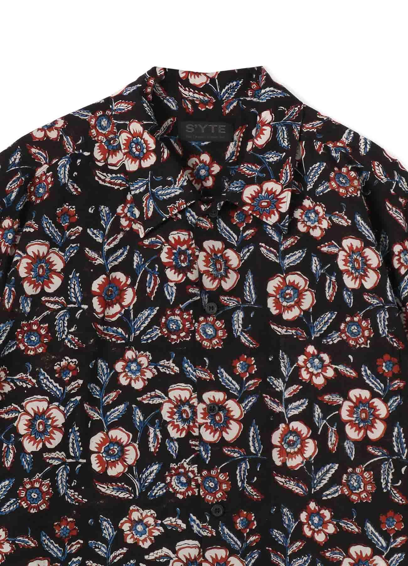 Indian Botanical Red Ethnic Big Short Sleeve Shirt