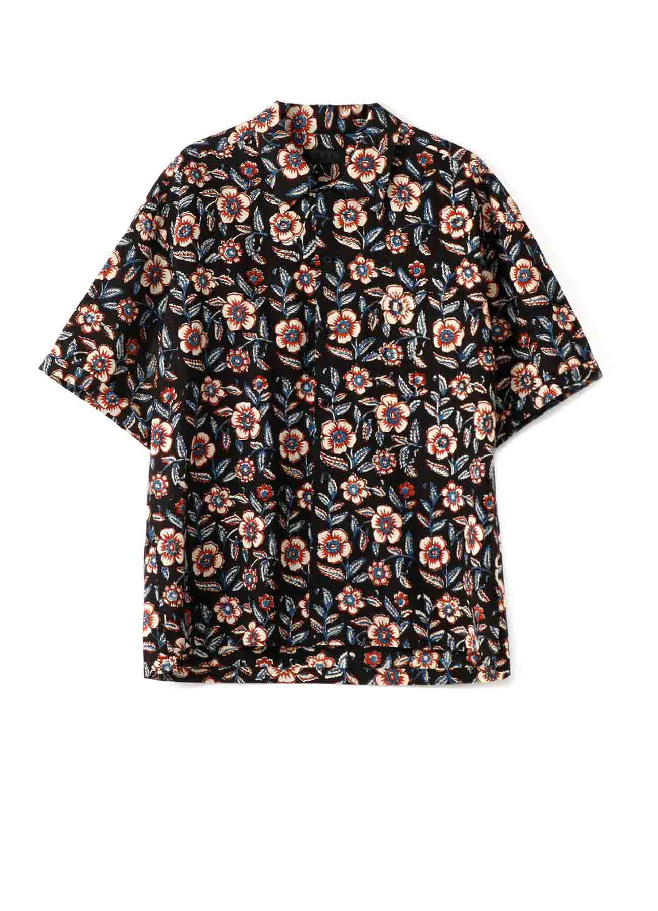 Indian Botanical Red Ethnic Big Short Sleeve Shirt