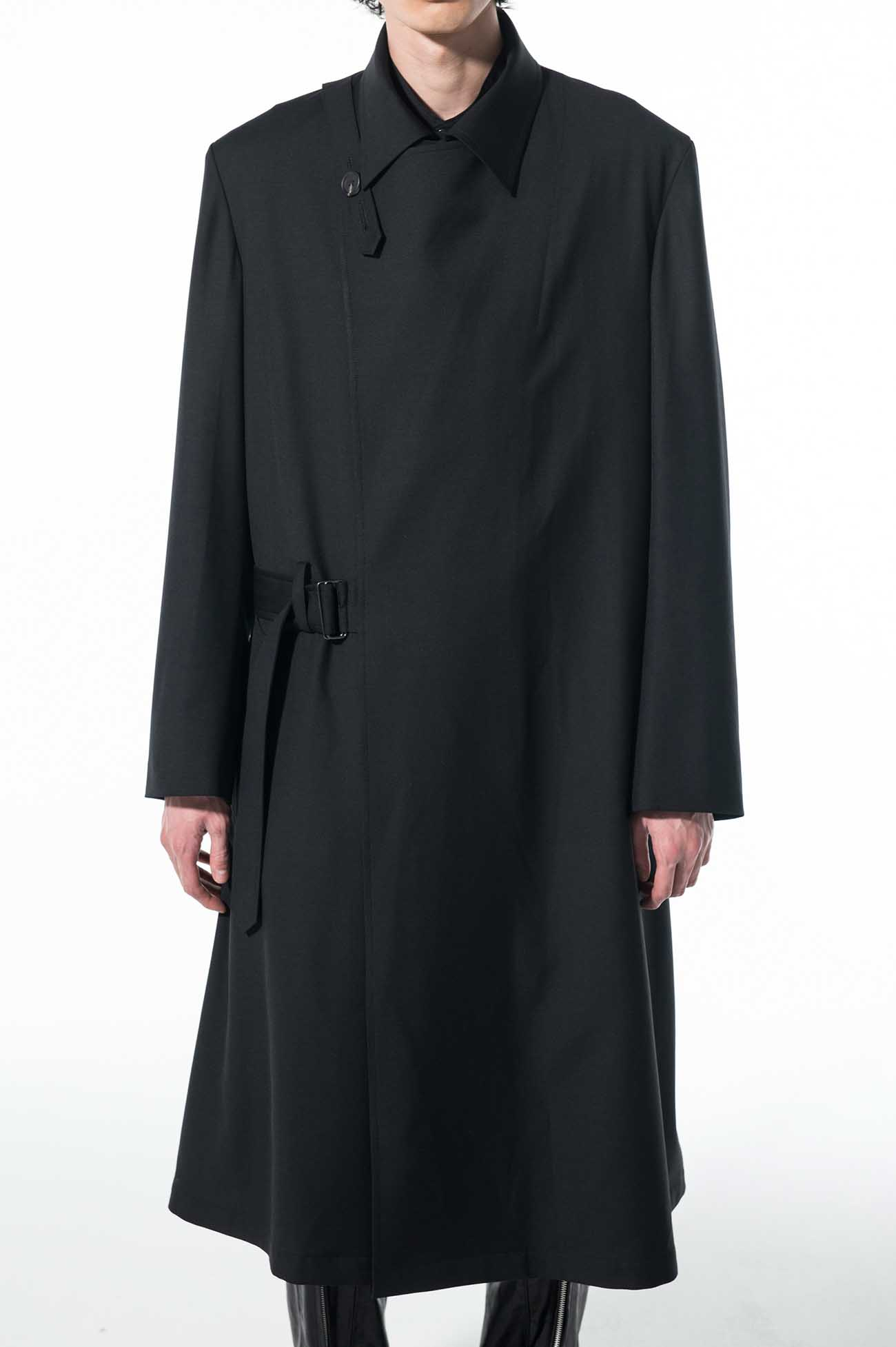 T/W Gabardine Washable Double Wrap Belt Coat