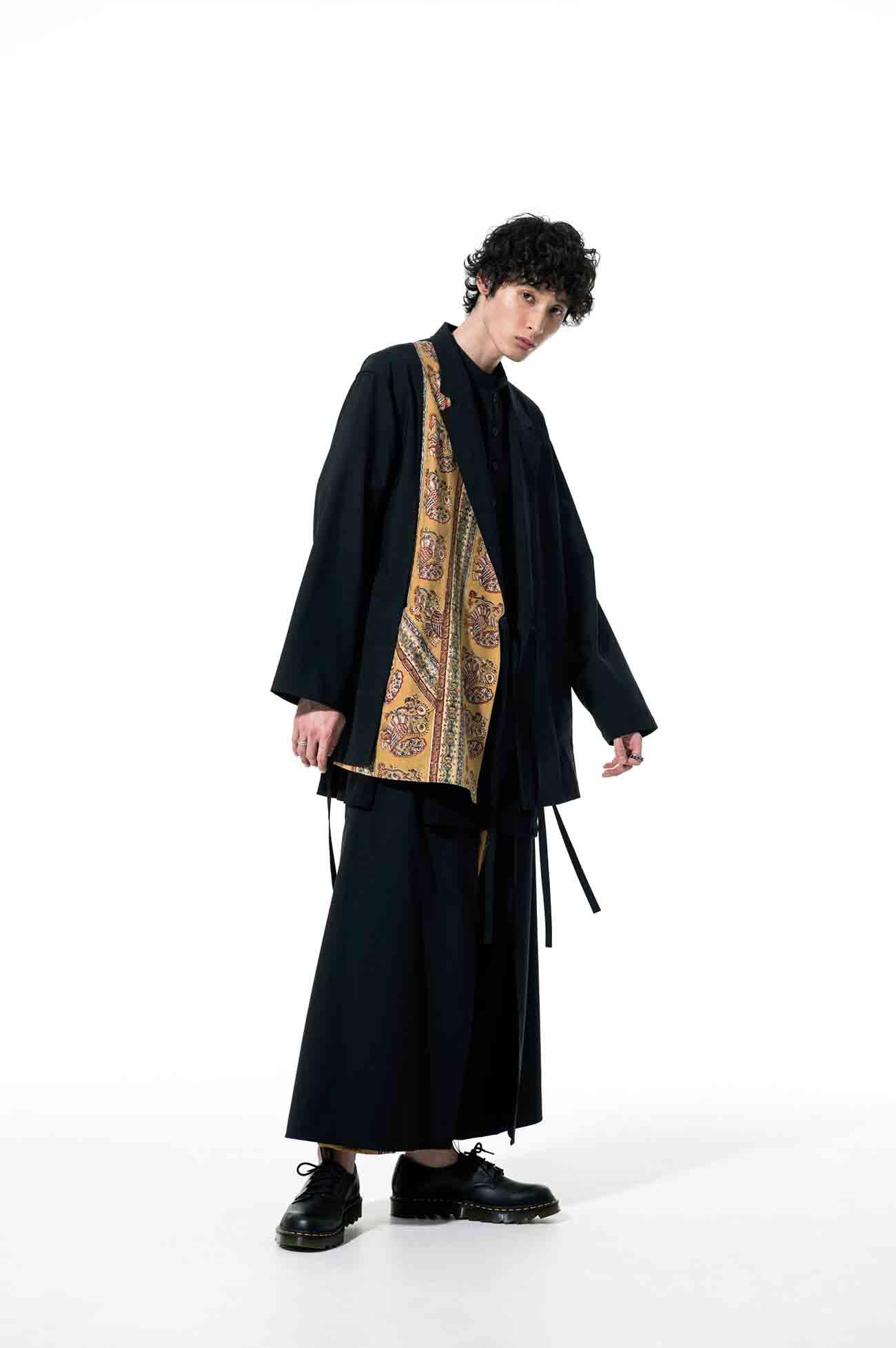 T/W Tropical Indian Block Print Peacock Wrap Haori Tailored Jacket