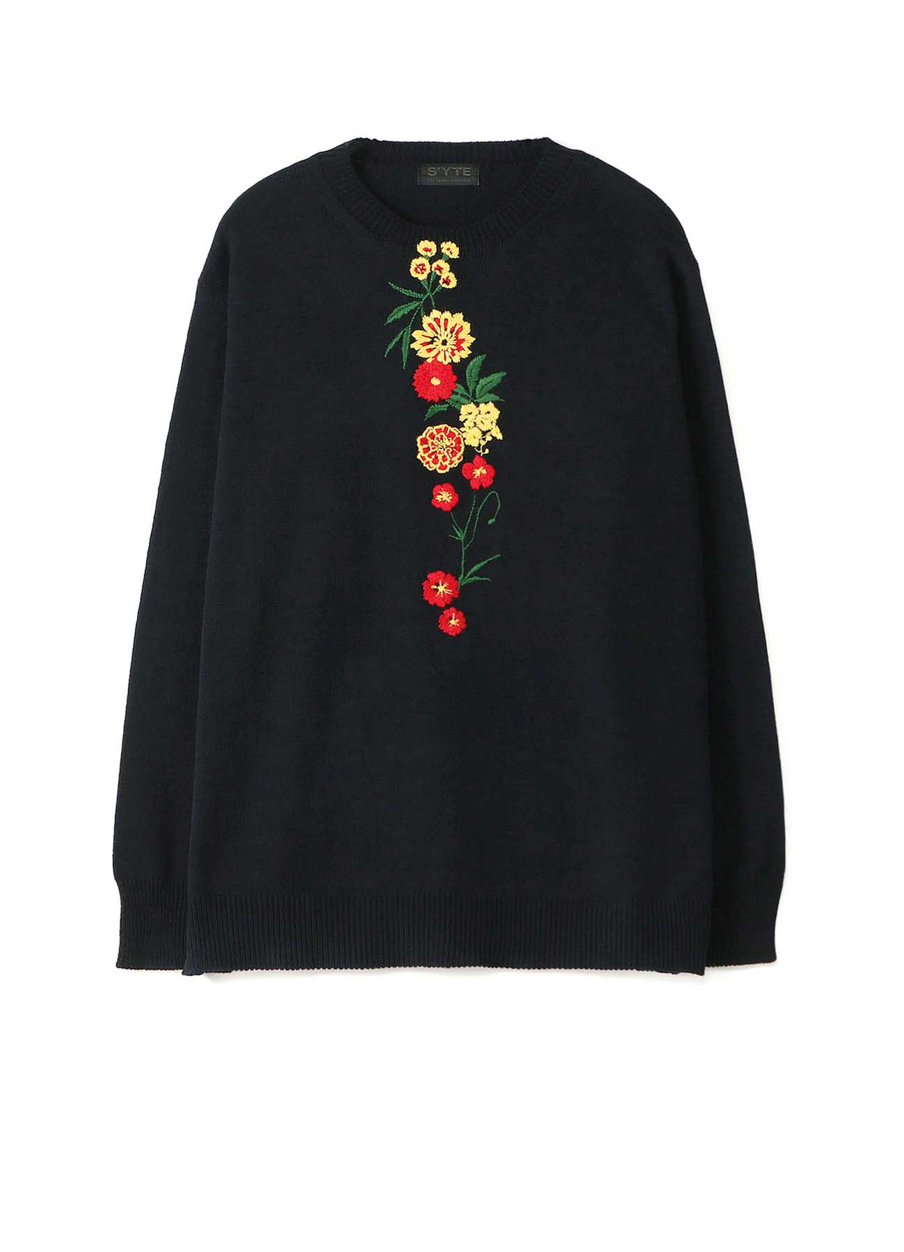 Cotton Acrylic Flower Embroidery Pullover