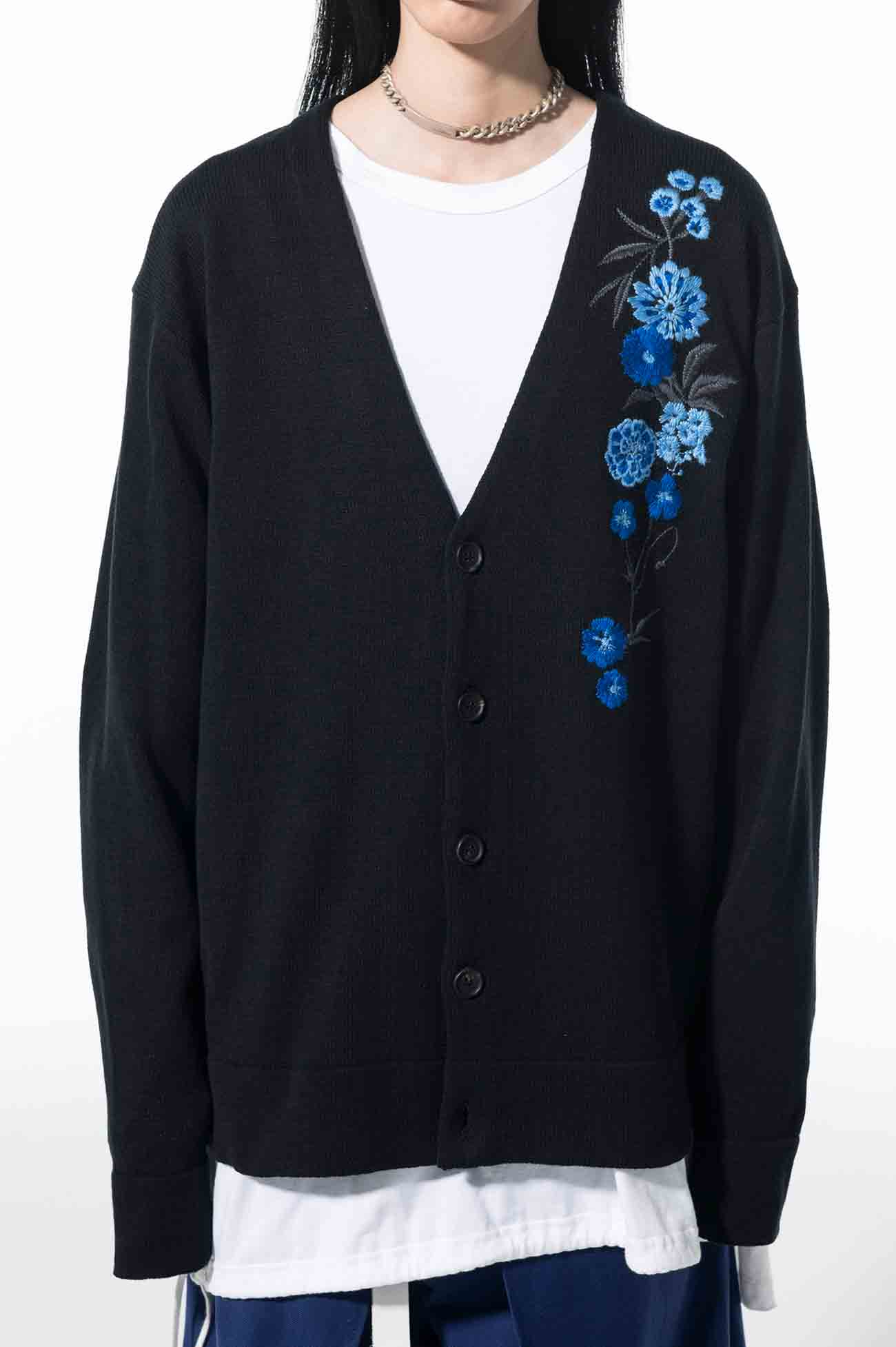 Cotton Acrylic Blue Flower Embroidery Cardigan