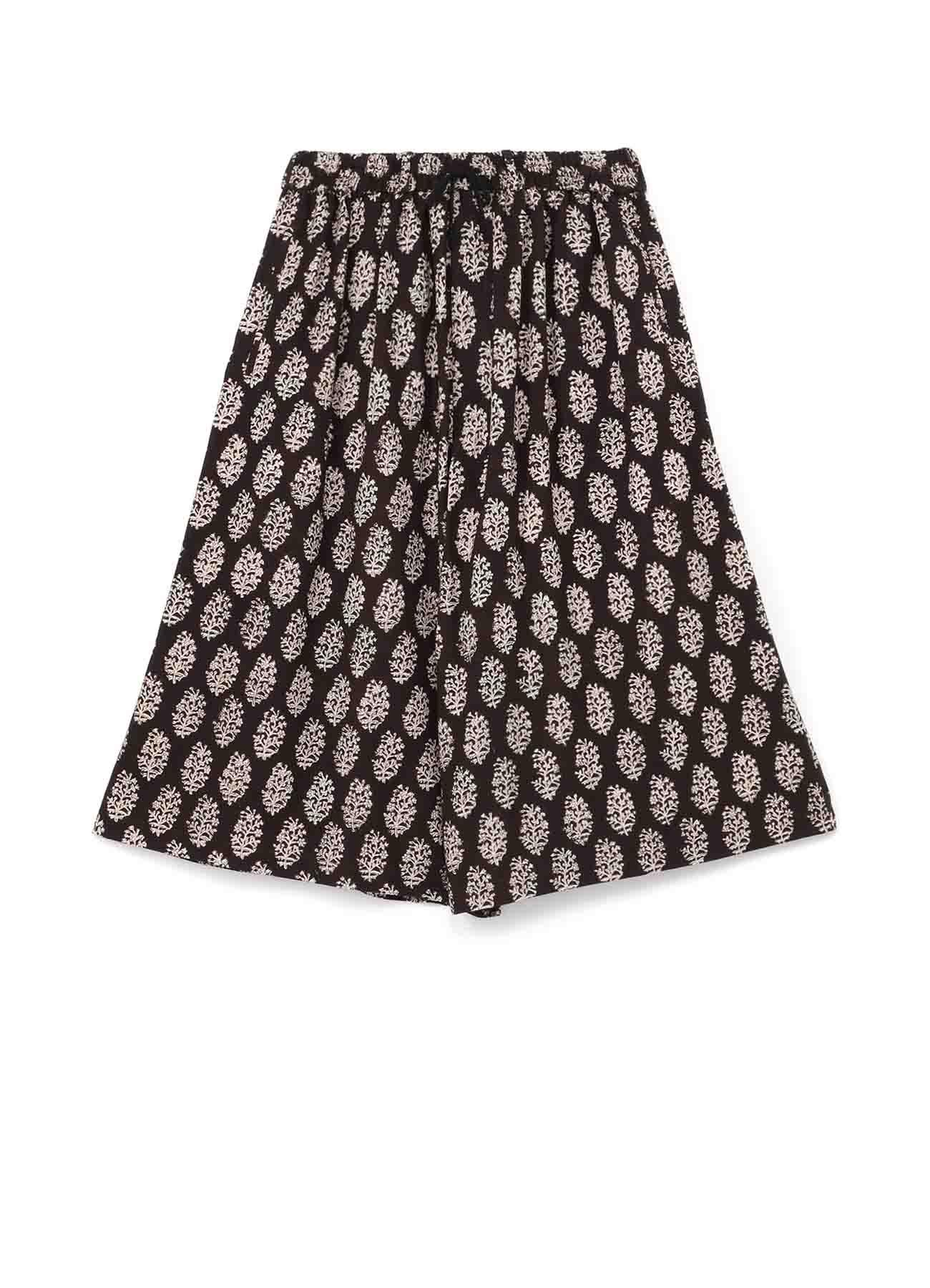 Indian Botanical Black Block Print Culotte Pants