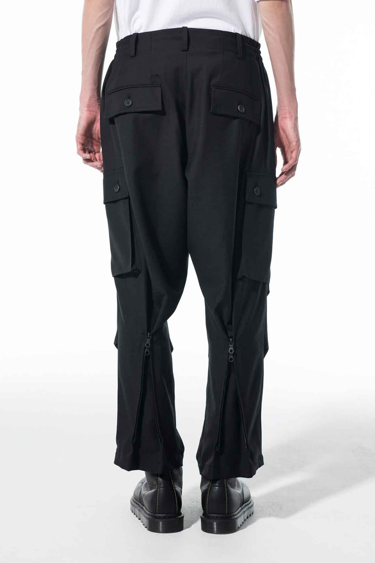 T/W Gabardine Washable one tuck Back Zipper 6-pocket Cargo pants