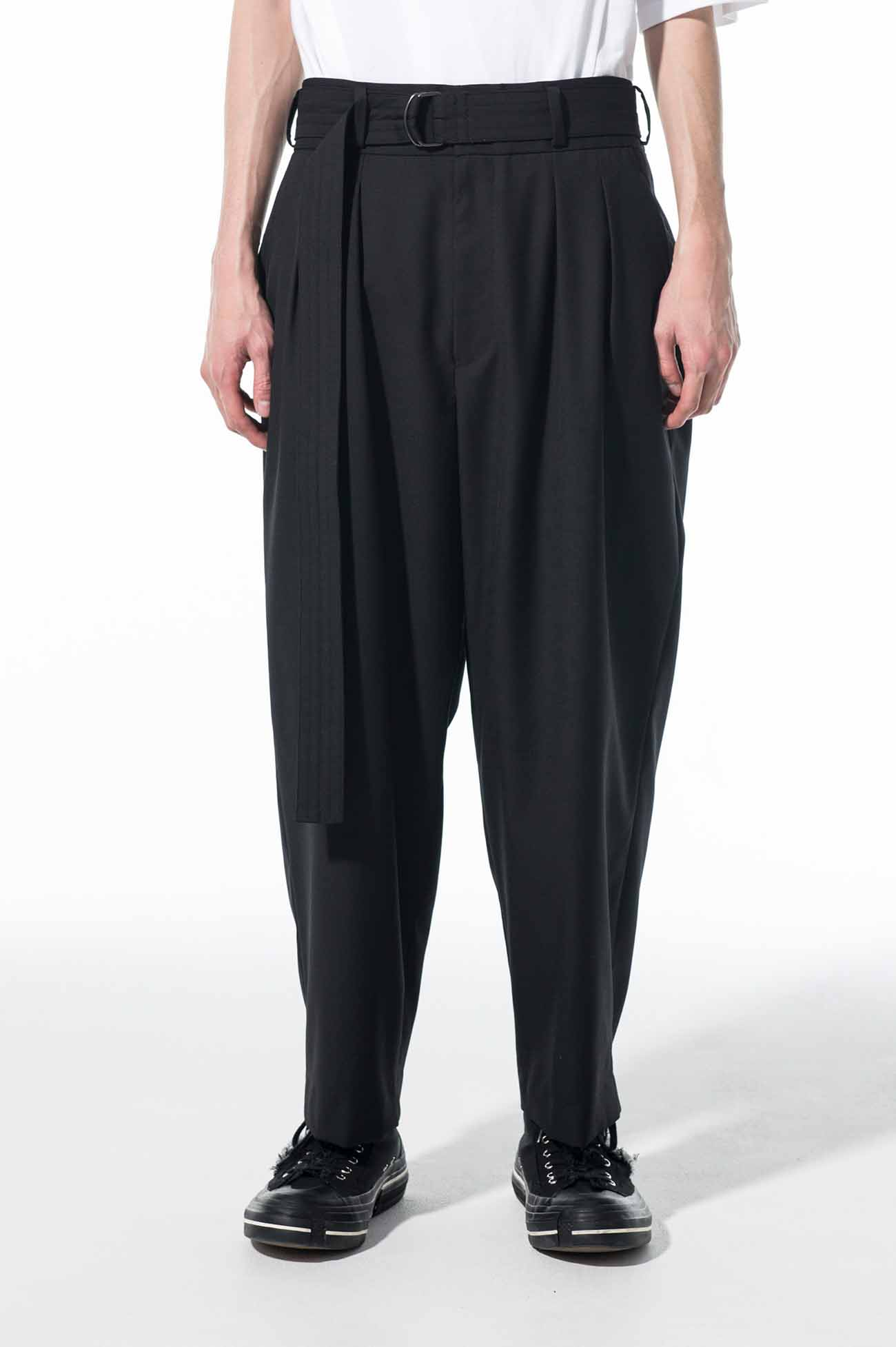 T/W Gabardine Washable 2-Tuck Tapered Belt Pants