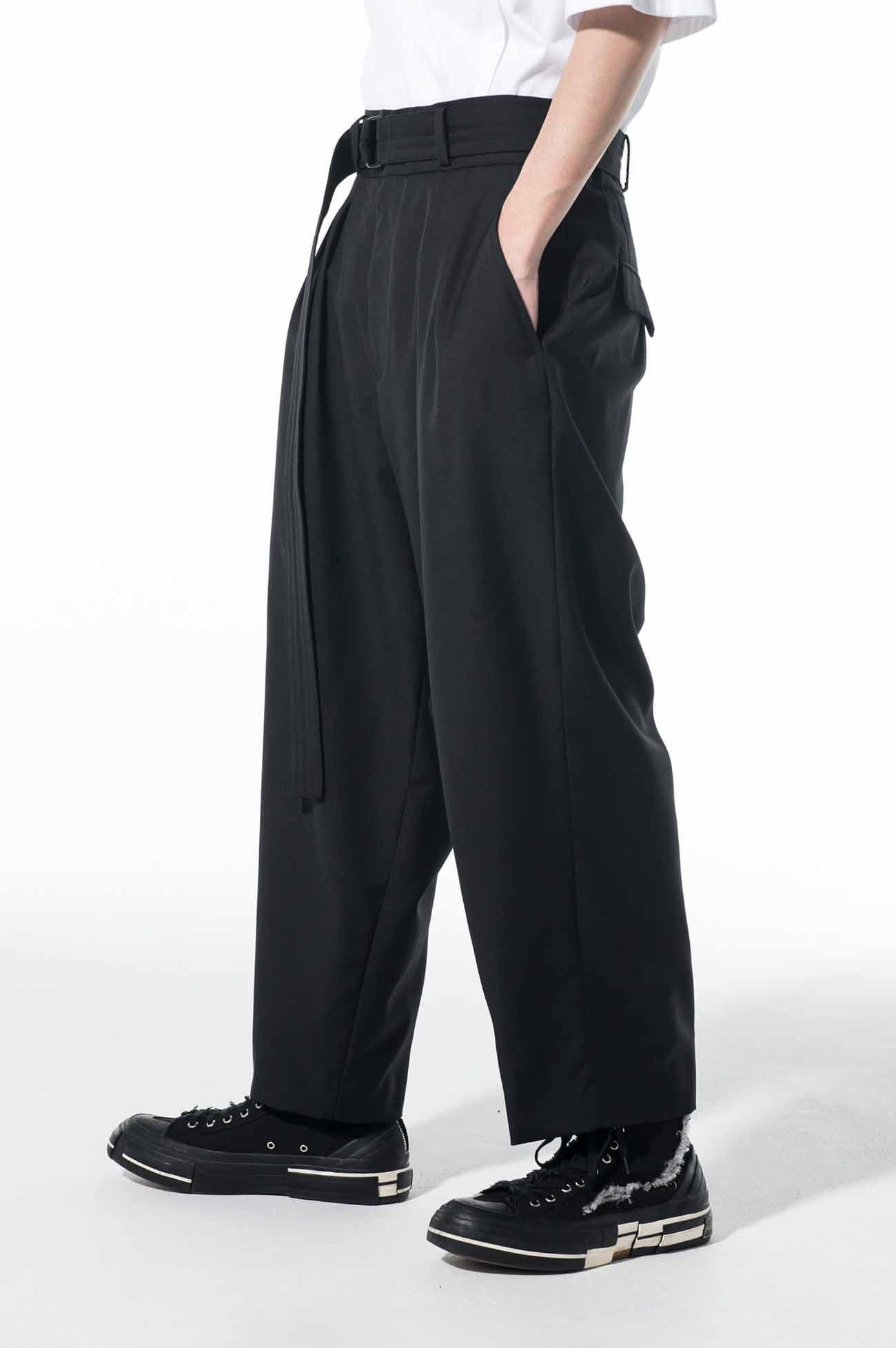 T/W Gabardine 2-Tuck Tapered Belt Pants