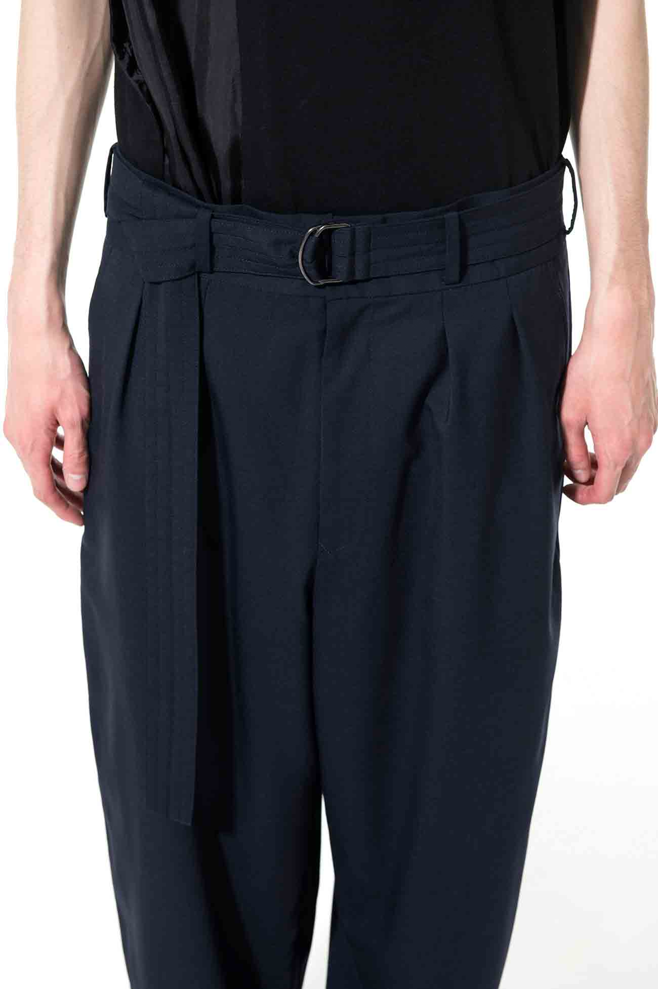 T/W Tropical Indian Boota 2-Tuck Tapered Belt Navy Pants