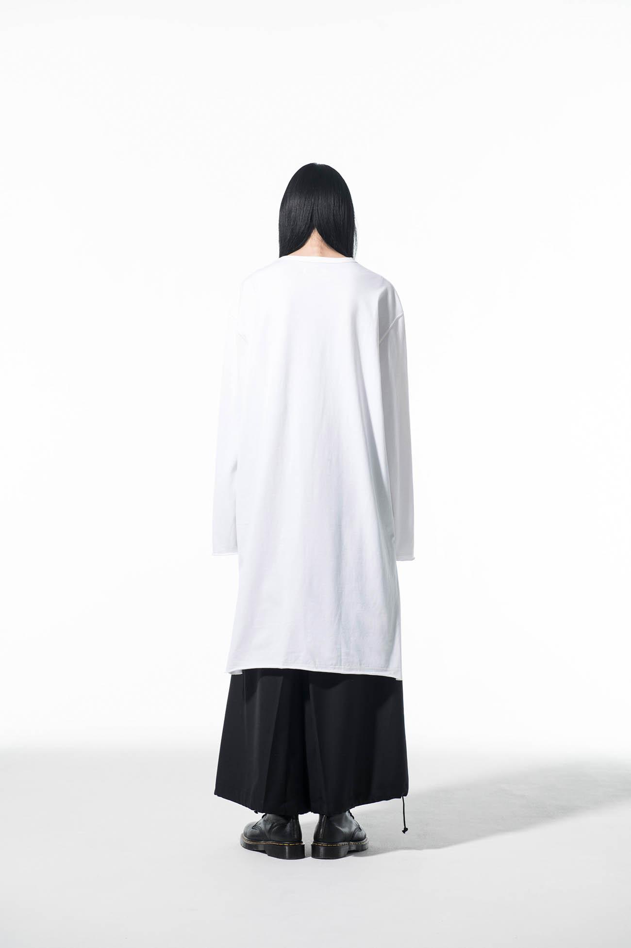 40/2 Jersey Front Layer Drape Big Long Sleeve T-Shirt