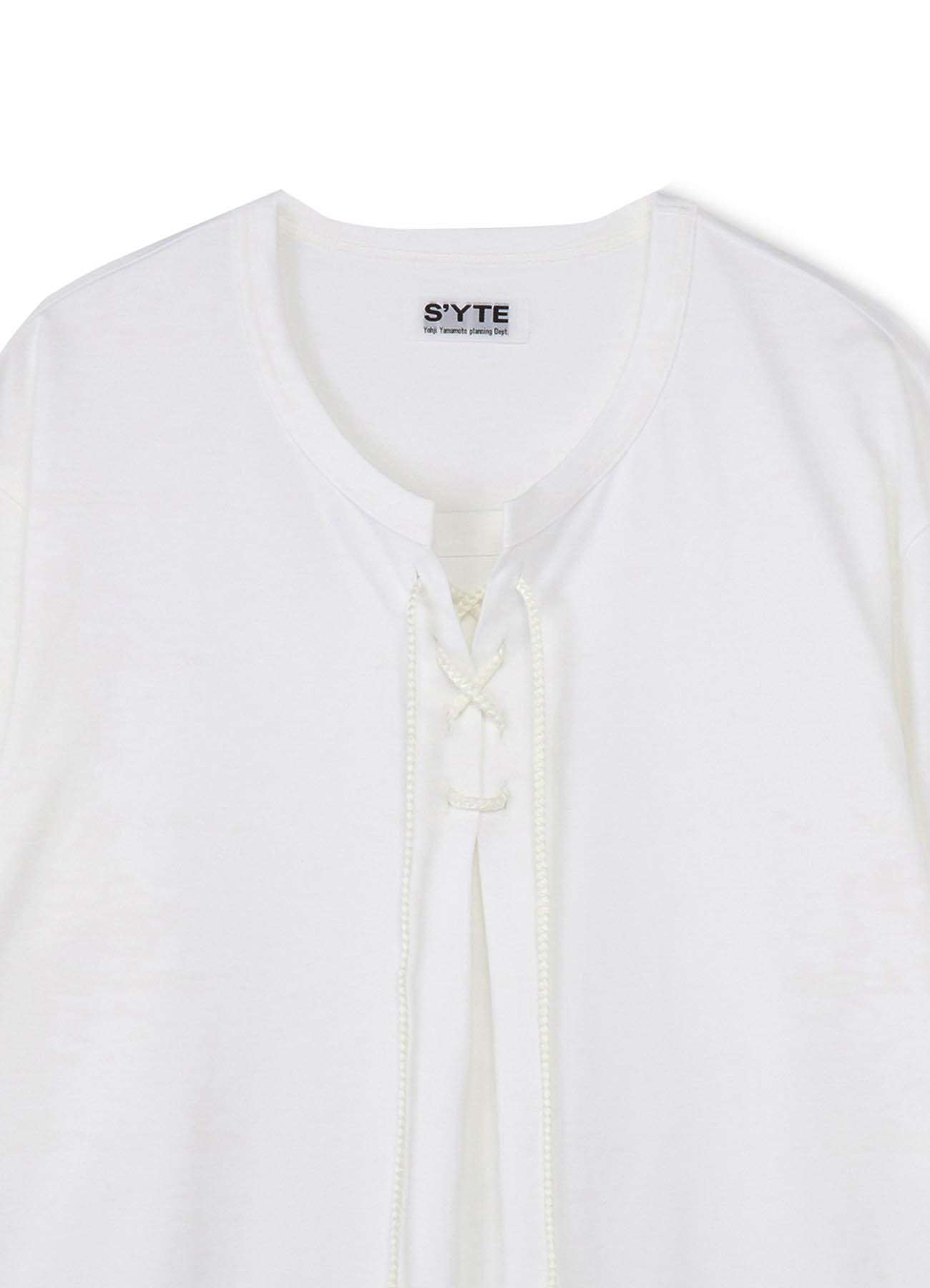 40/2 Cotton Jersey Lace-up Pullover Short Sleeve T
