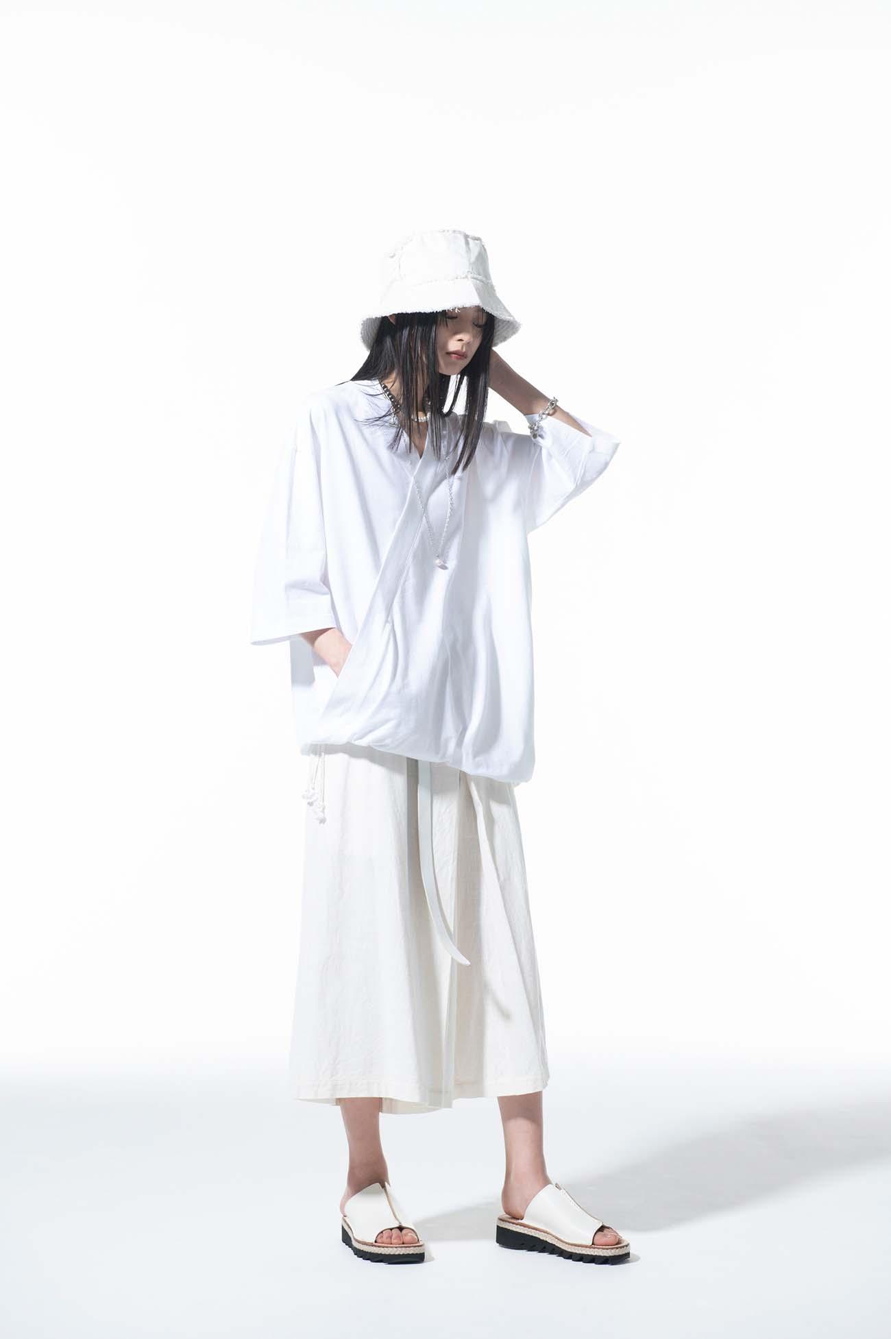 40/2 Cotton Jersey Kimono Layered Drawstring Pullover Half Sleeve T