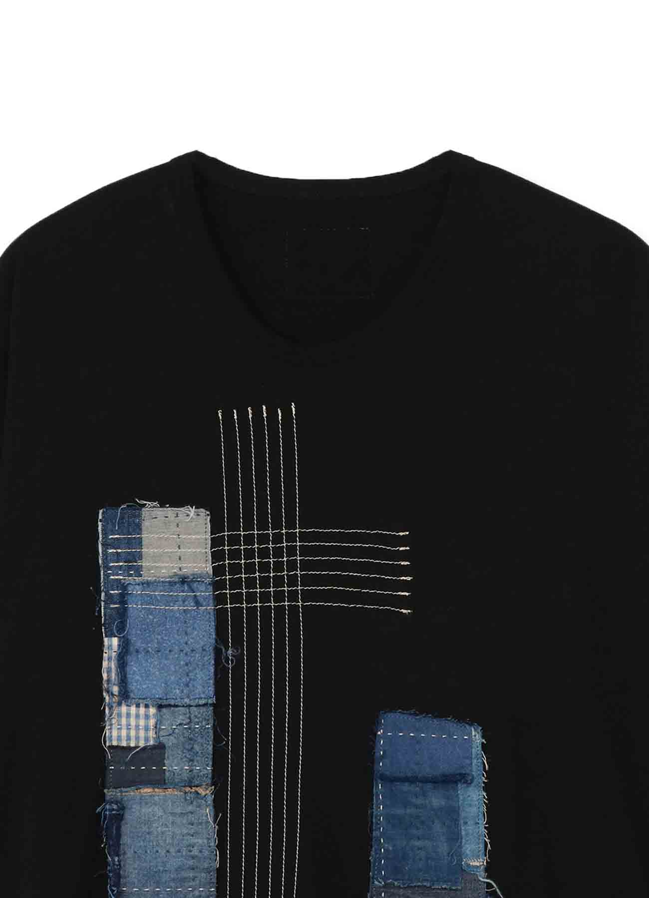 S'YTE×KUON Cotton Cellulose Jersey Patchwork Crew Neck Long T-shirt
