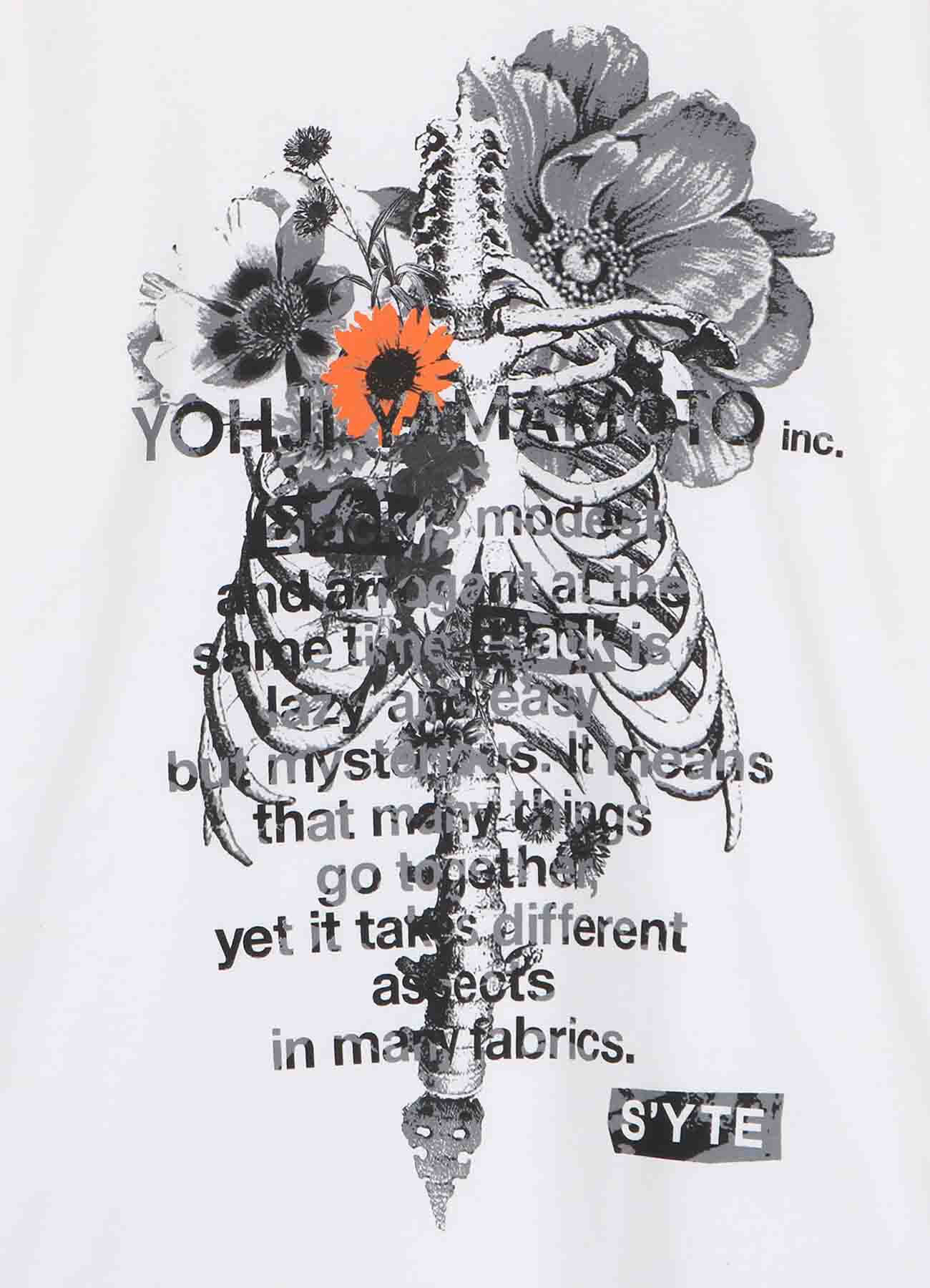 20/Cotton Jersey Bones and Flowers Collage Message T-shirt