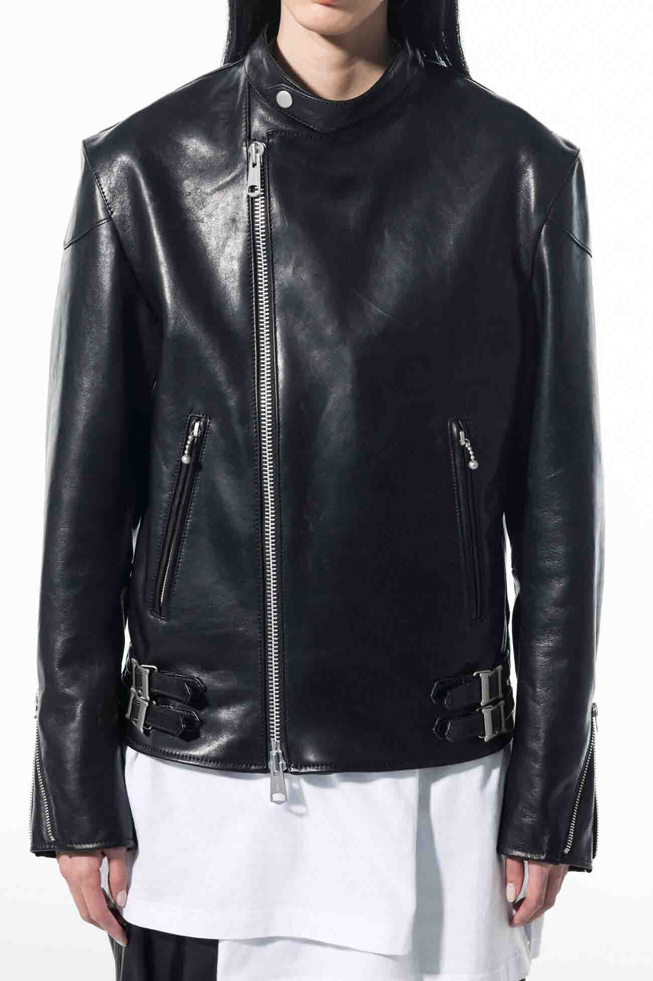 Lambskin Leather Stand Collar Double Riders Jacket