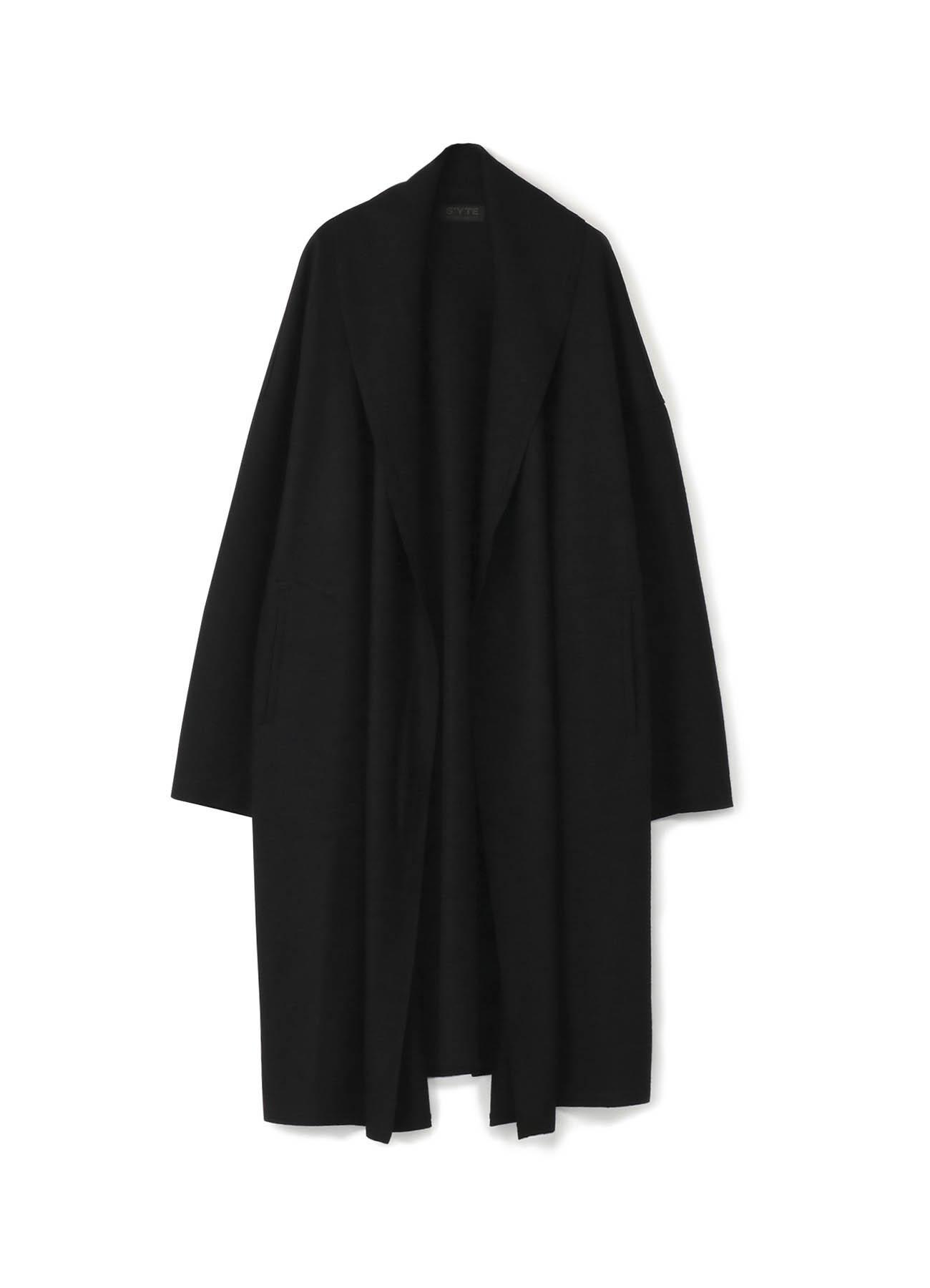 压缩羊毛披肩领浴袍大衣
