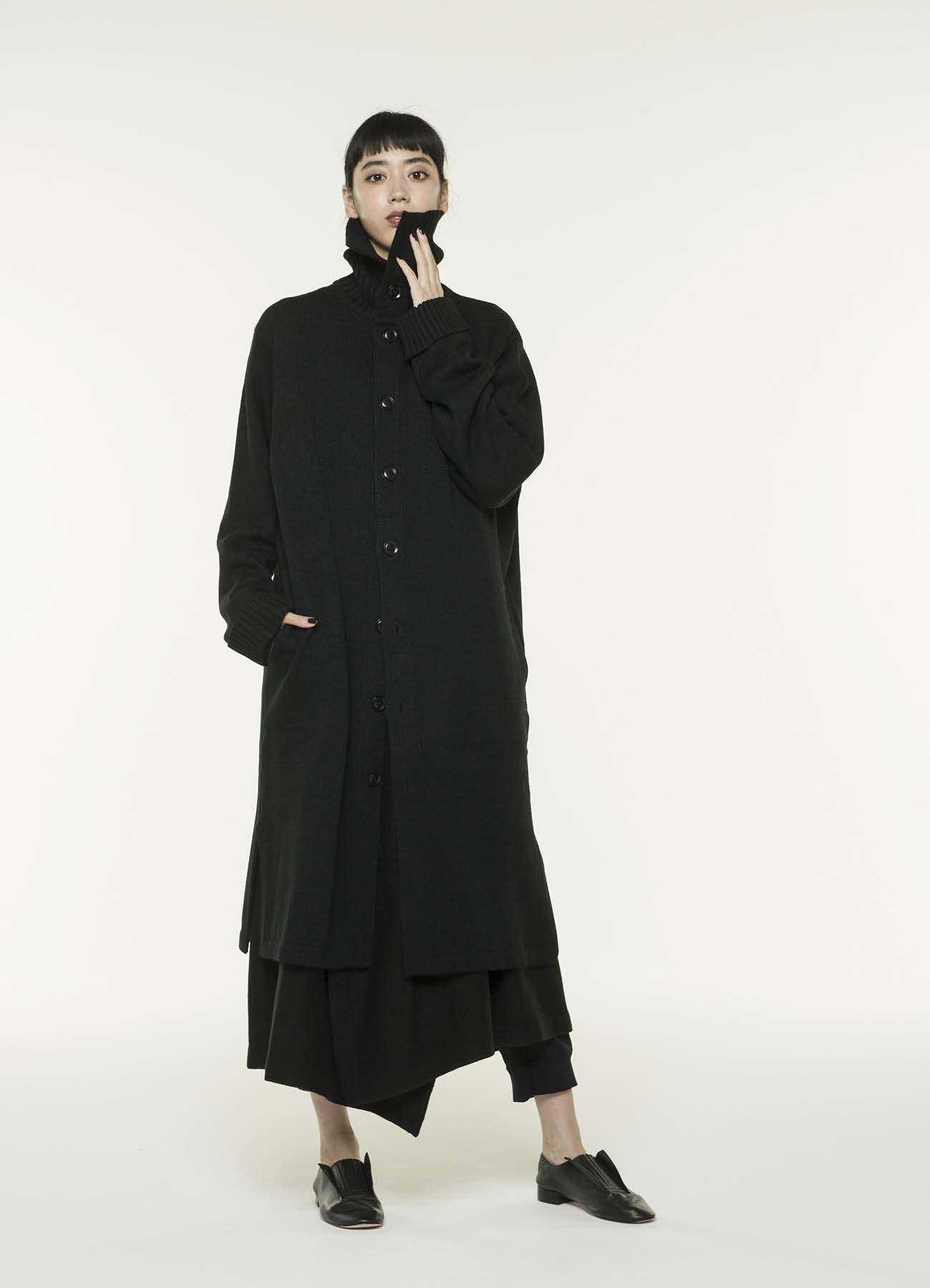 蓬松羊毛码罗纹领长针织大衣