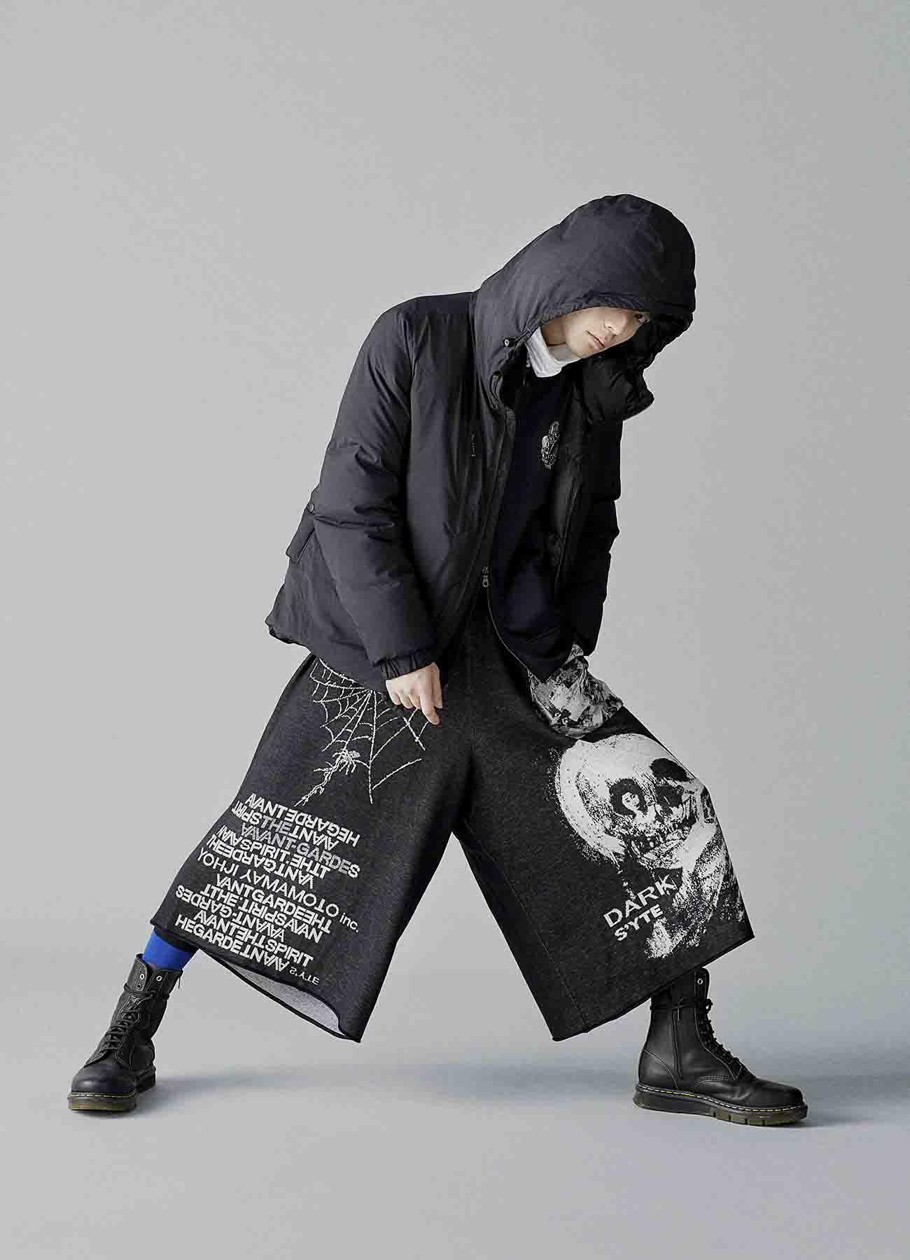 提花针织裤裙-黑/白