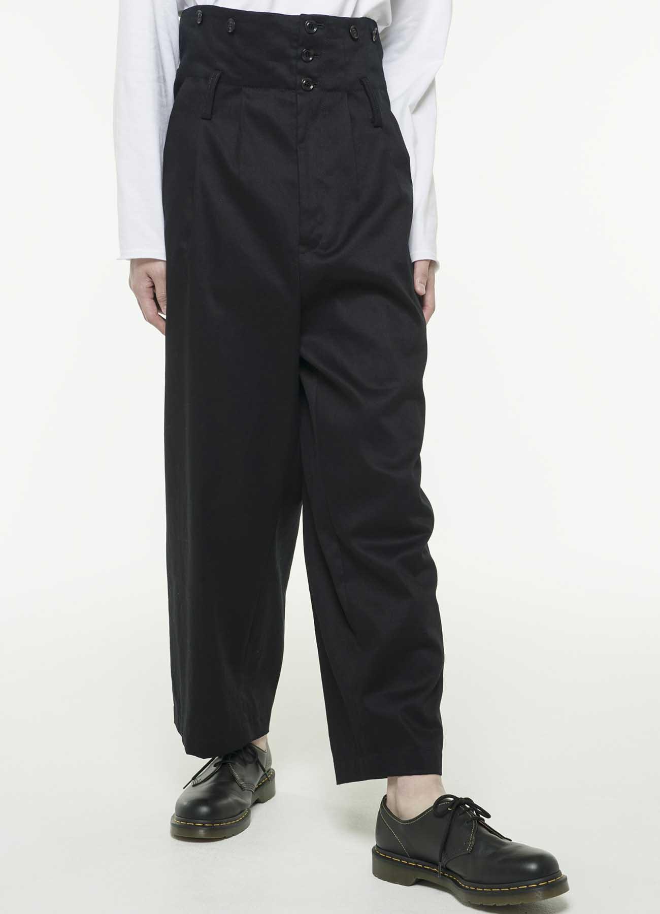 20 / 棉斜纹三折高腰宽吊带裤