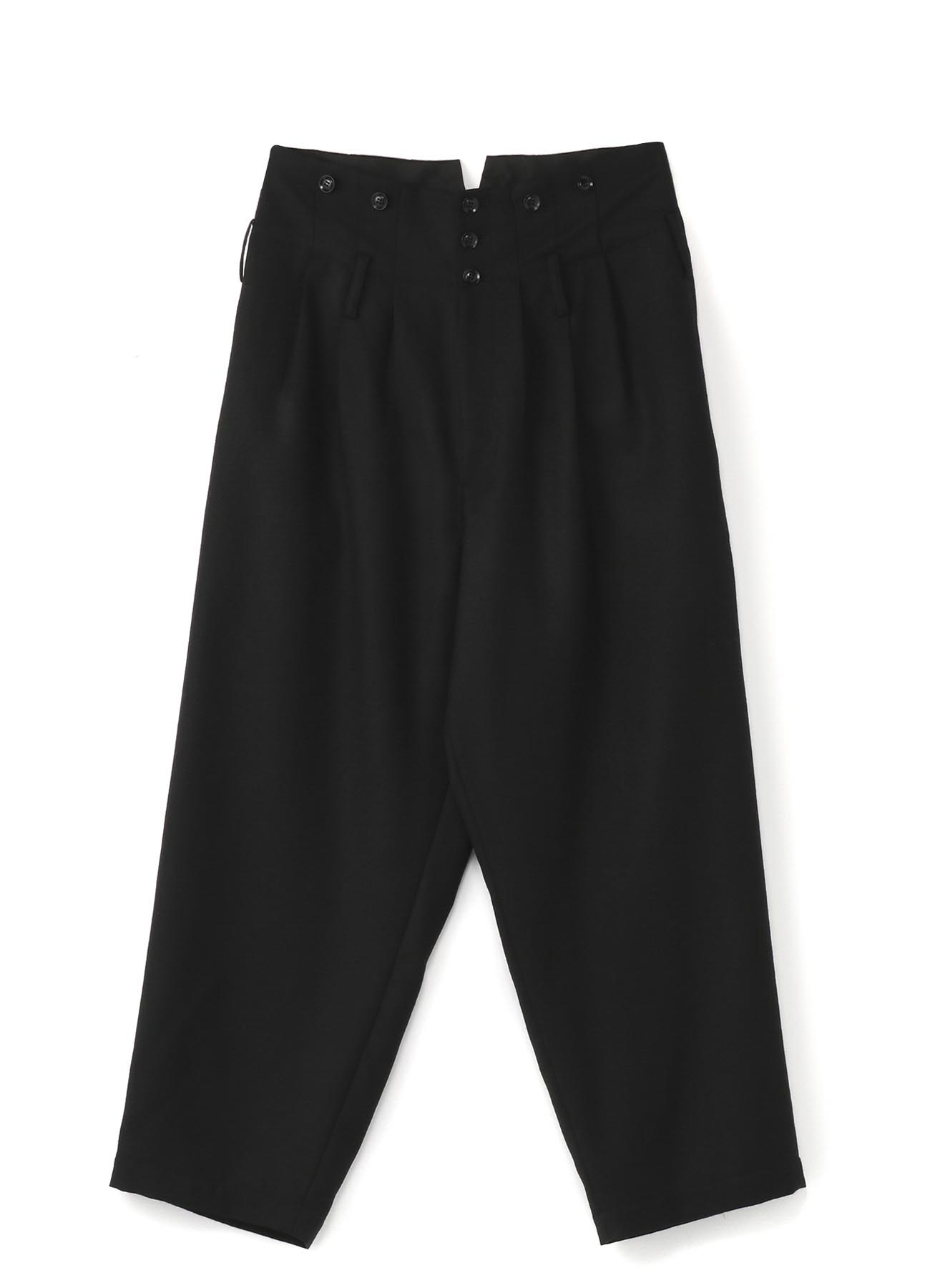 Wool Serge 3Tuck HighWaist Wide Suspenders Pants