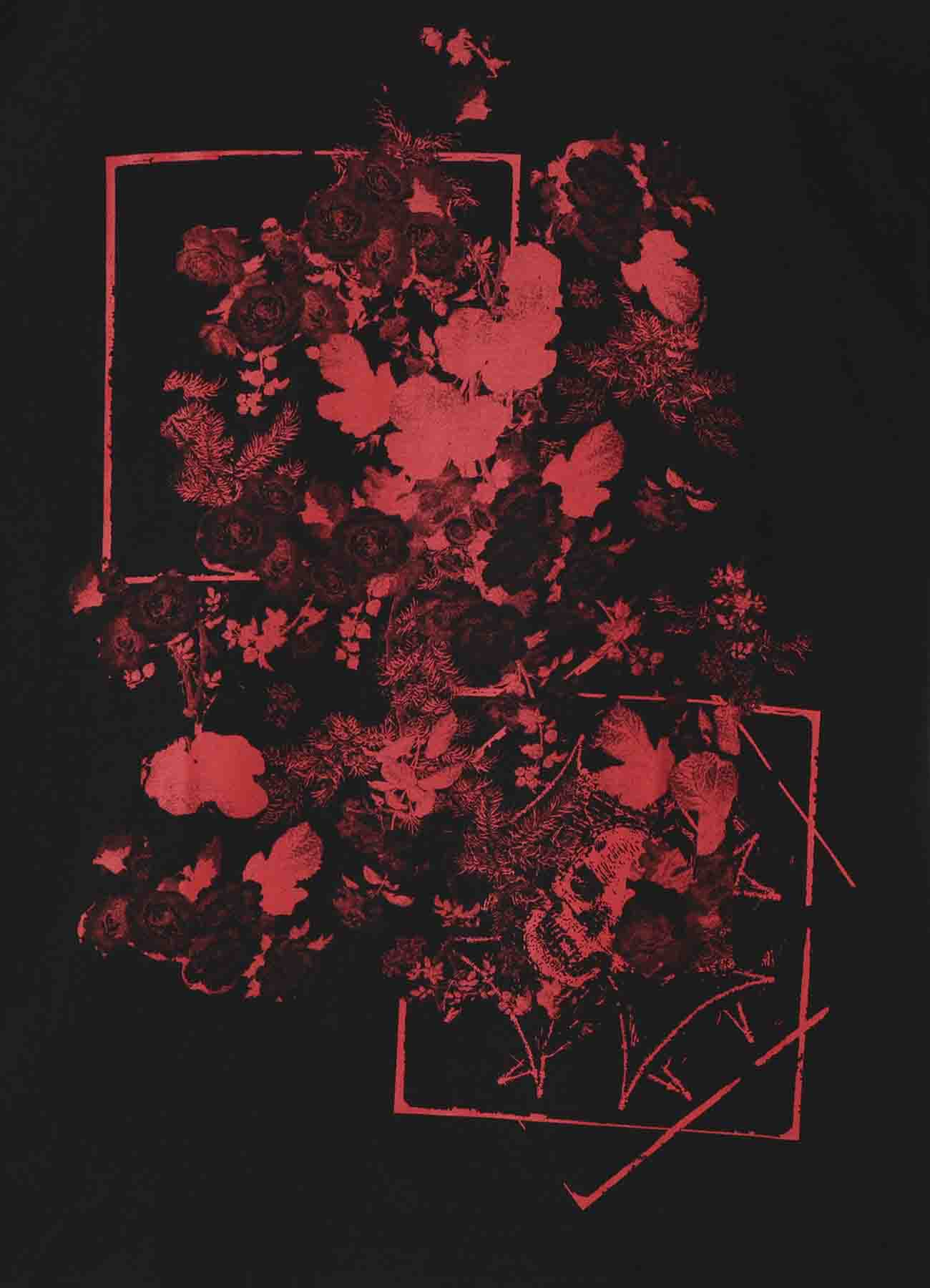 20/CottonJersey A lot of Red flowers and Skull
