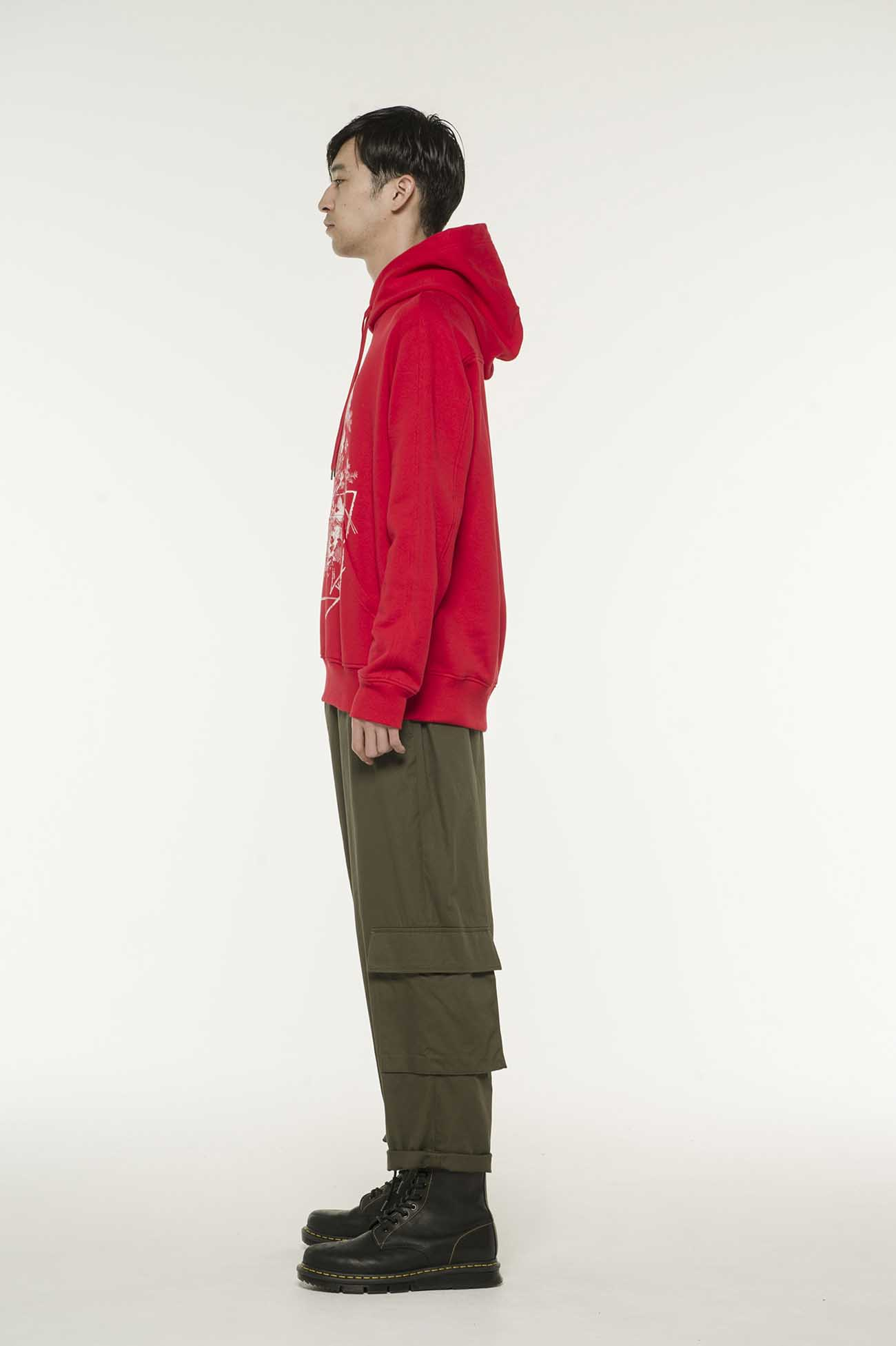French Terry Stitch Work A Lot of Flowers&Carving Skull Hoodie In Red