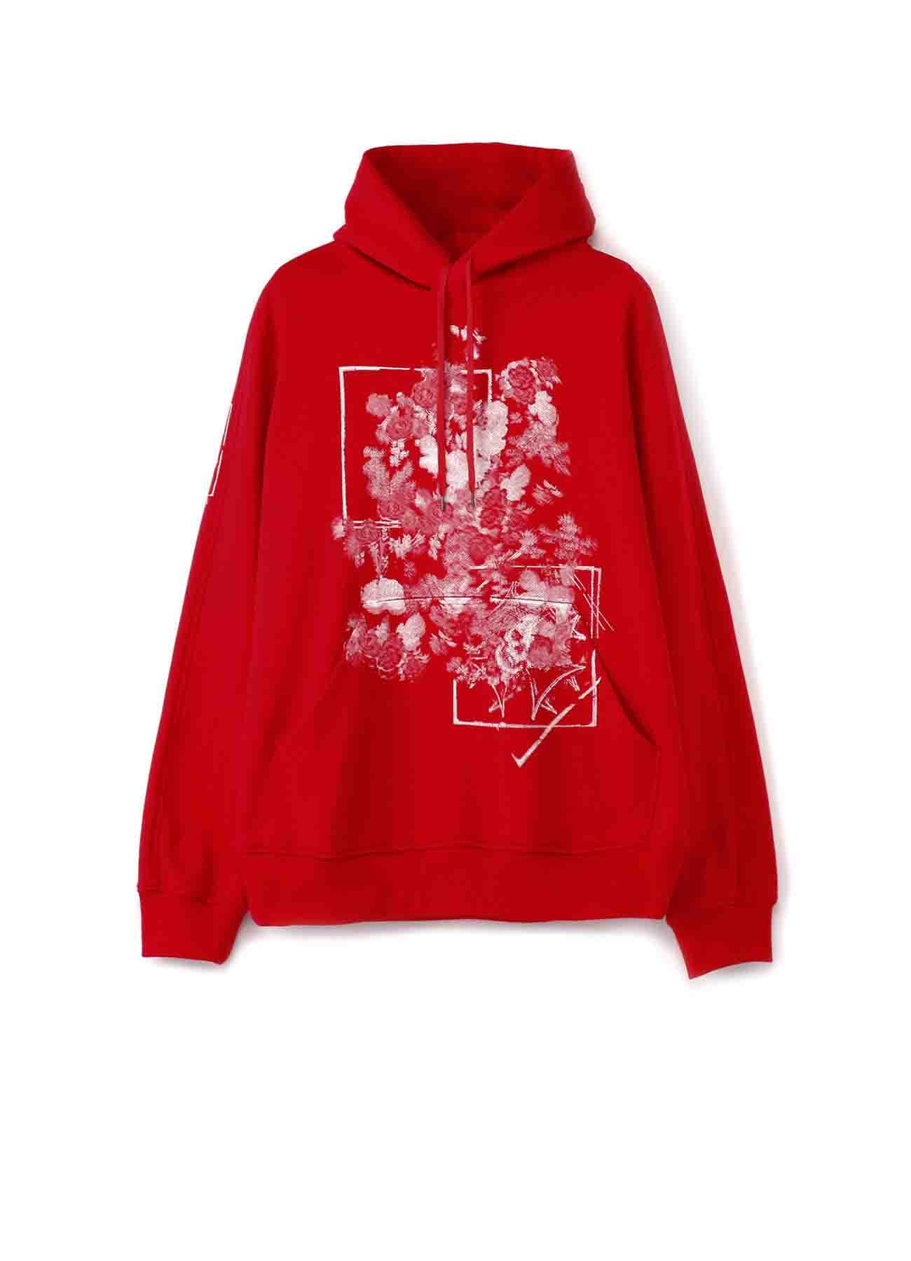 """""""骷髅与花朵""""红色帽衫"""