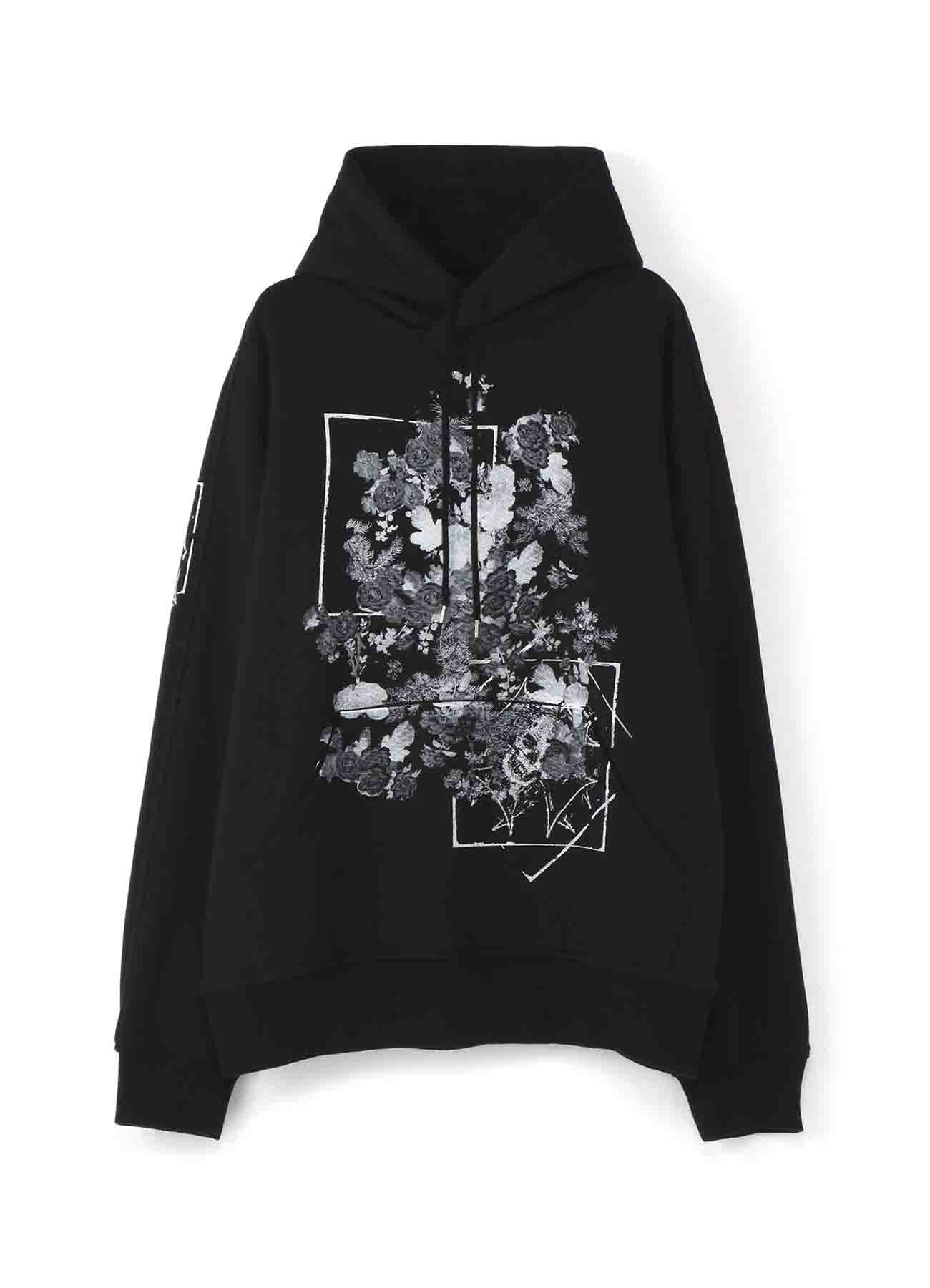 French Terry Stitch Work A Lot of Flowers&Carving Skull Hoodie