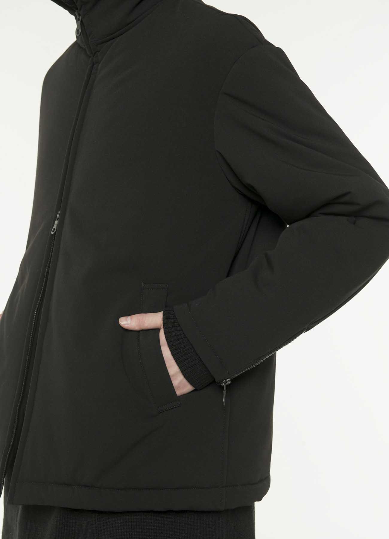 Pe / 人造丝轧别丁弹性面料拉链宽松夹克