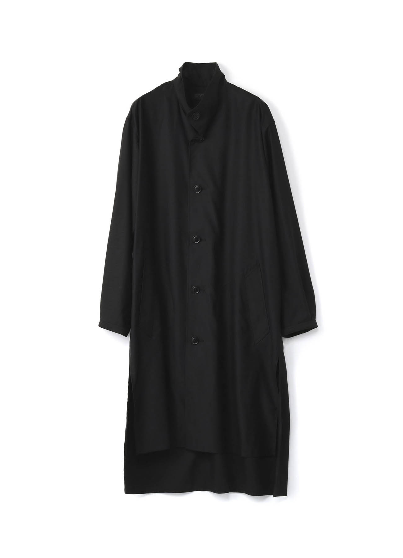 Pre Collection Tencel/Cotton Slab Back Satin Stand Collar Coat