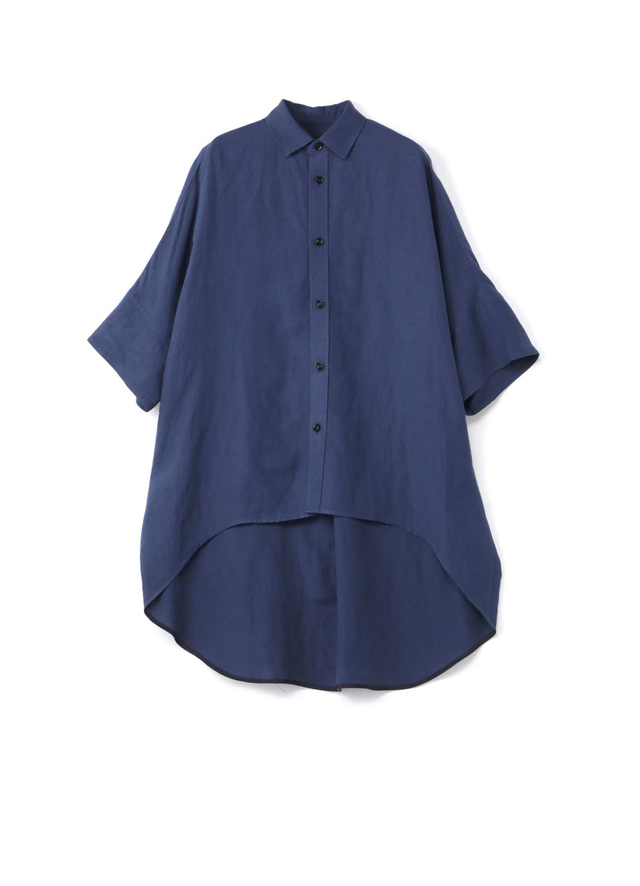 Rayon linen Easy cross Round hem overshirt