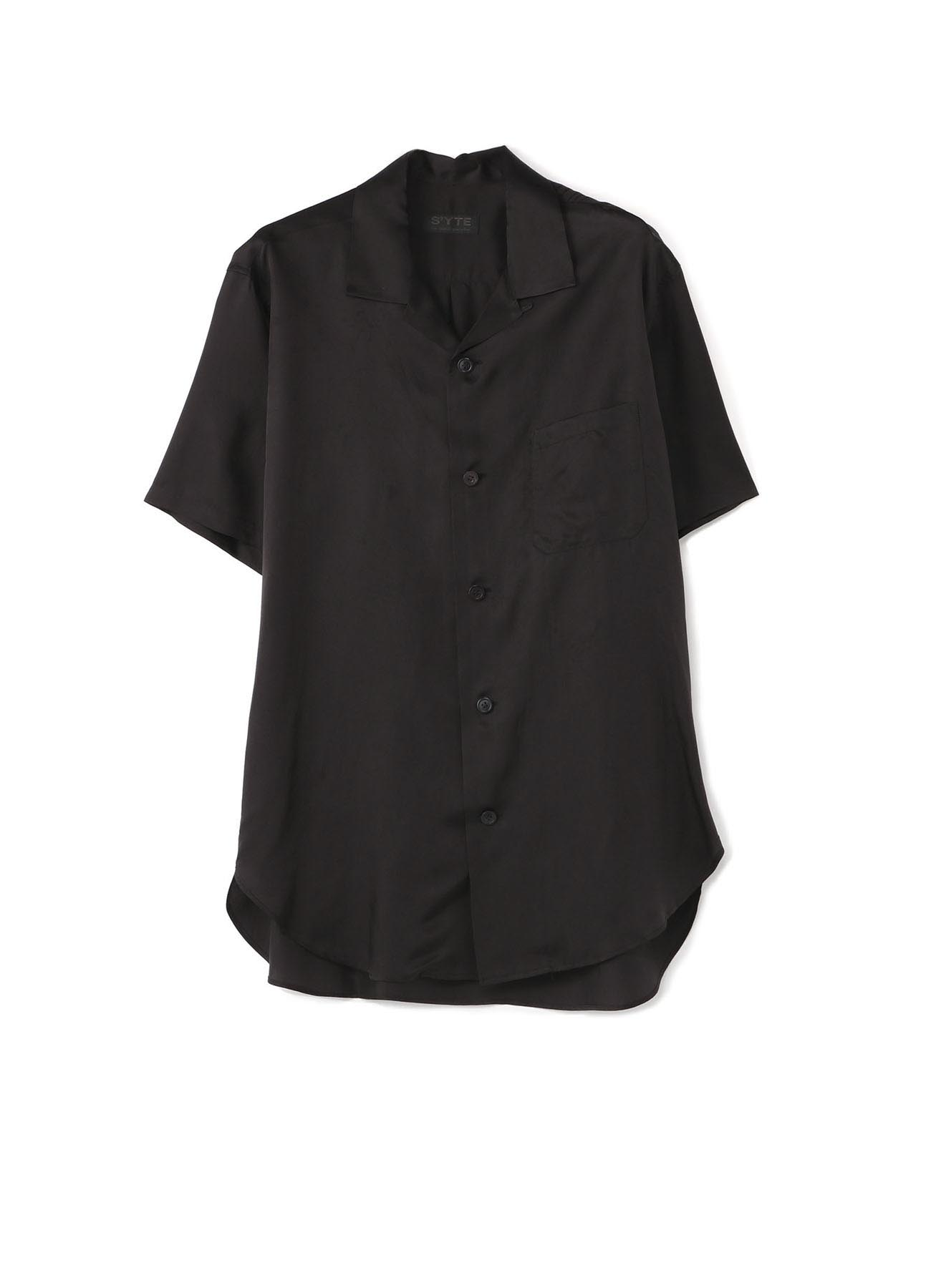 Cupro twill washer Short-sleeved open collar shirt