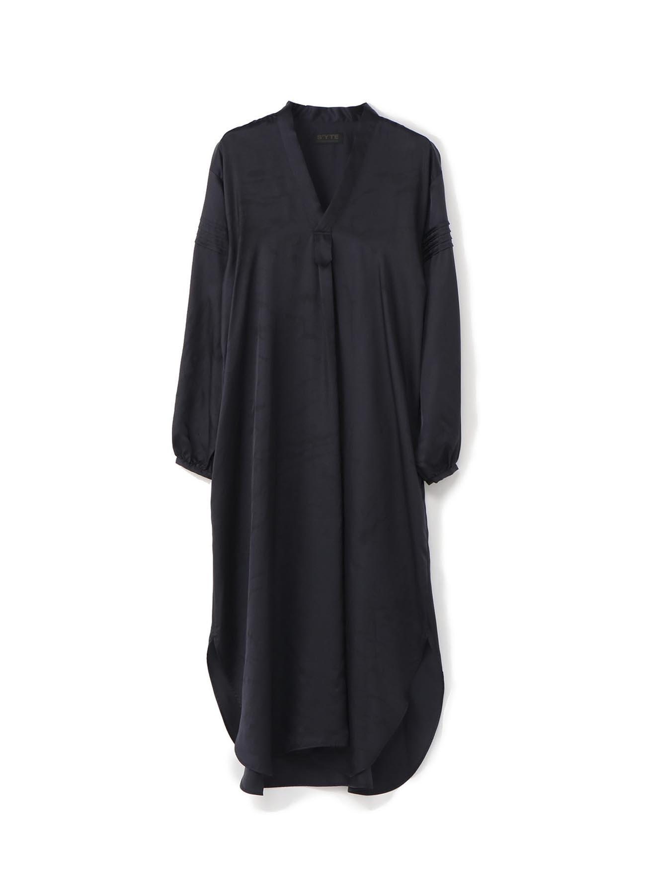 铜氨斜纹水洗V领束腰长裙