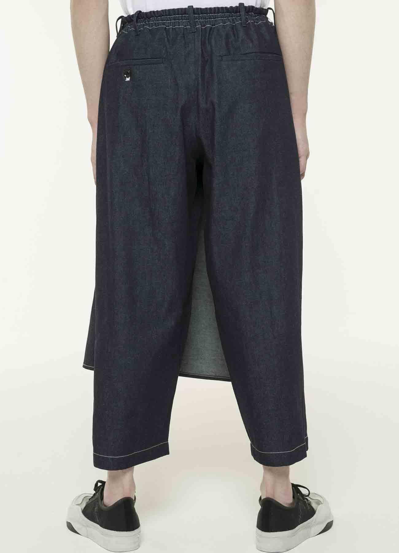 8盎司牛仔裹身宽七分裤