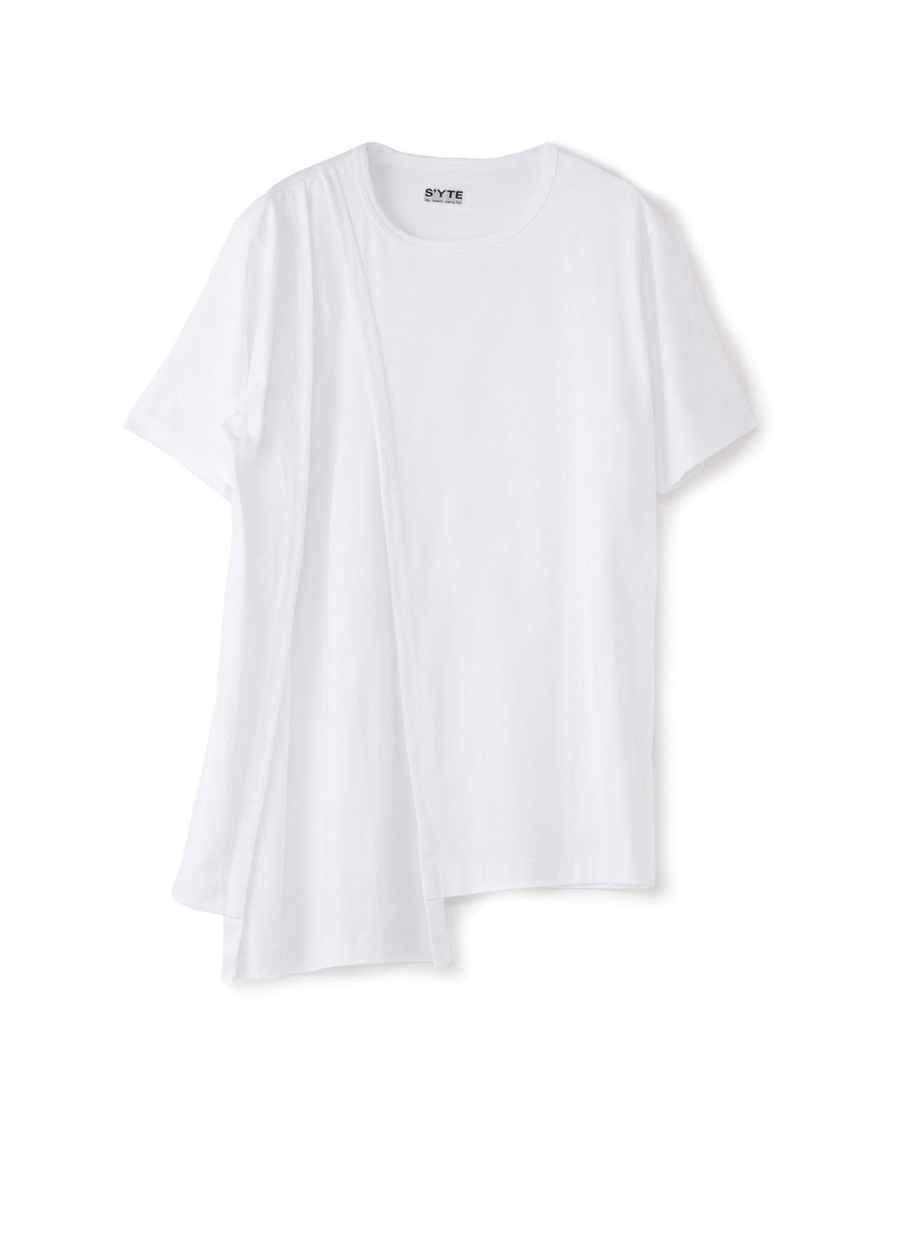 40/2细平纹不对称垂褶T恤
