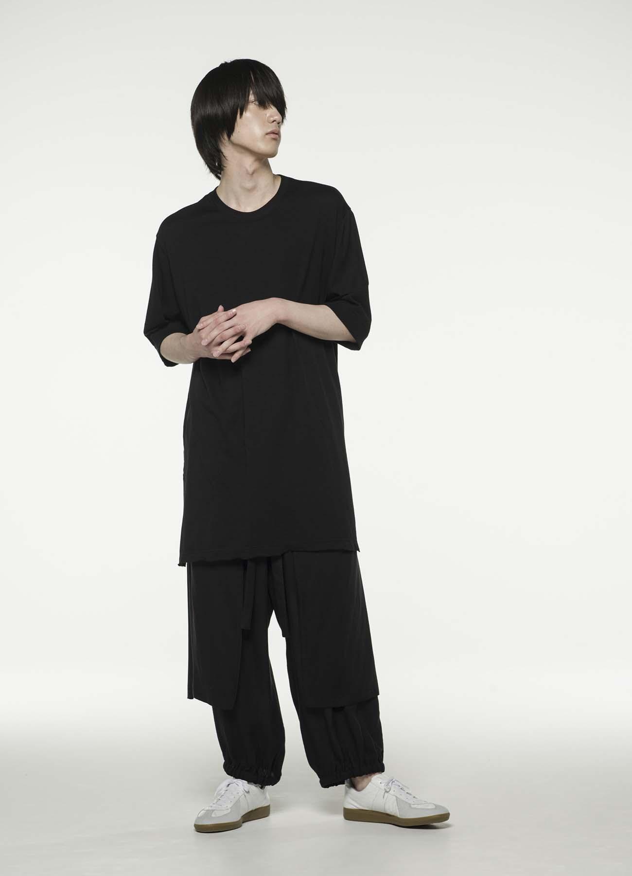 纯棉人造丝细平纹袖罗纹不规则长T恤