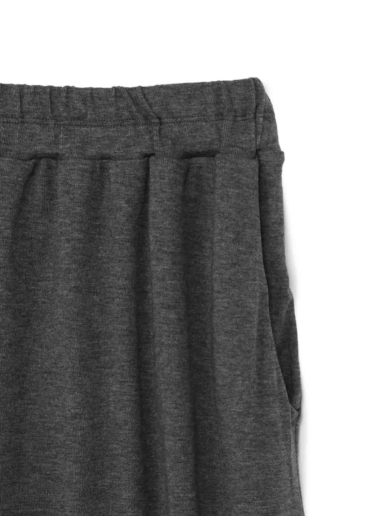 LYOCELL STRETCH RIB JERSEY 4/5 LENGTH WIDE PANTS