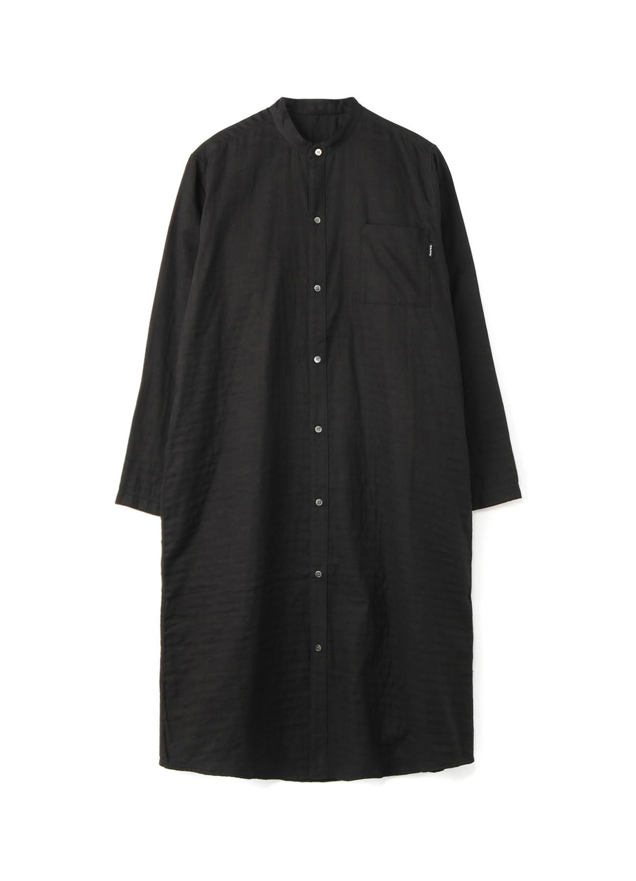 DOUBLE GAUZE OPEN FRONT LONG SLEEVE DRESS (L)