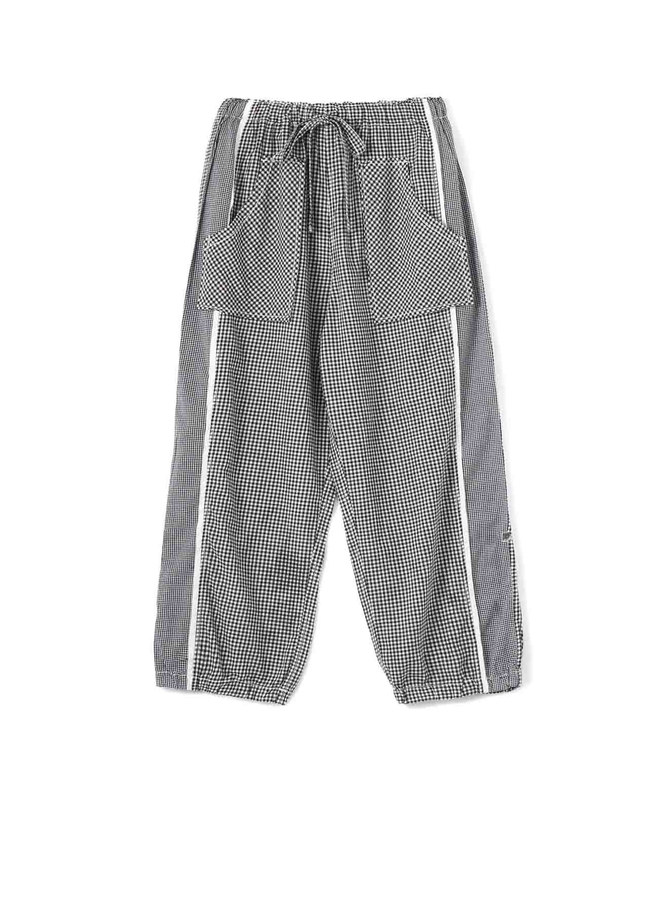 GINGHAM CHECK & COTTON VOILE ROLL UP PANTS
