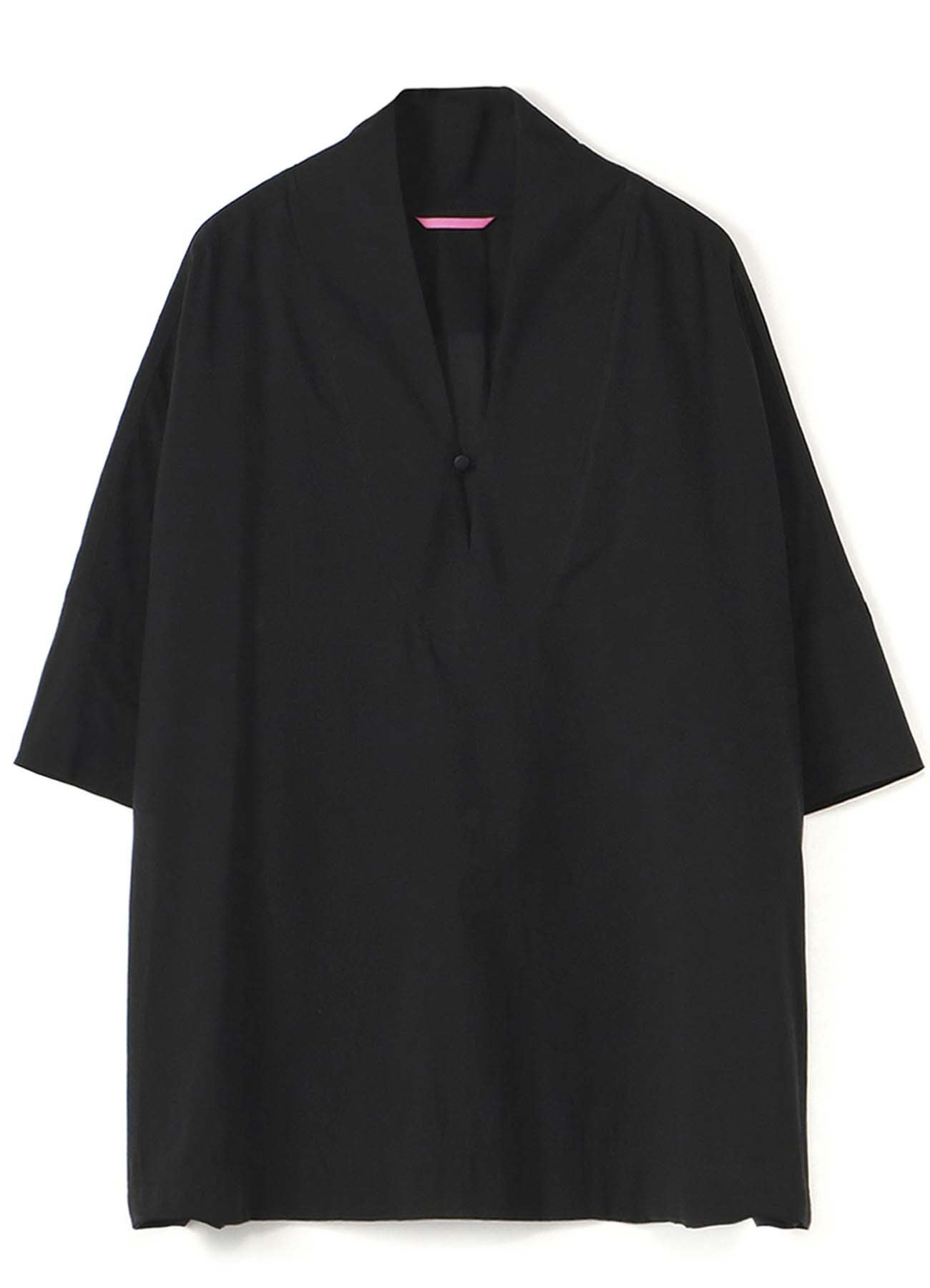 Y'sPINK COTTON SILK STAND UP COLLAR PULL OVER
