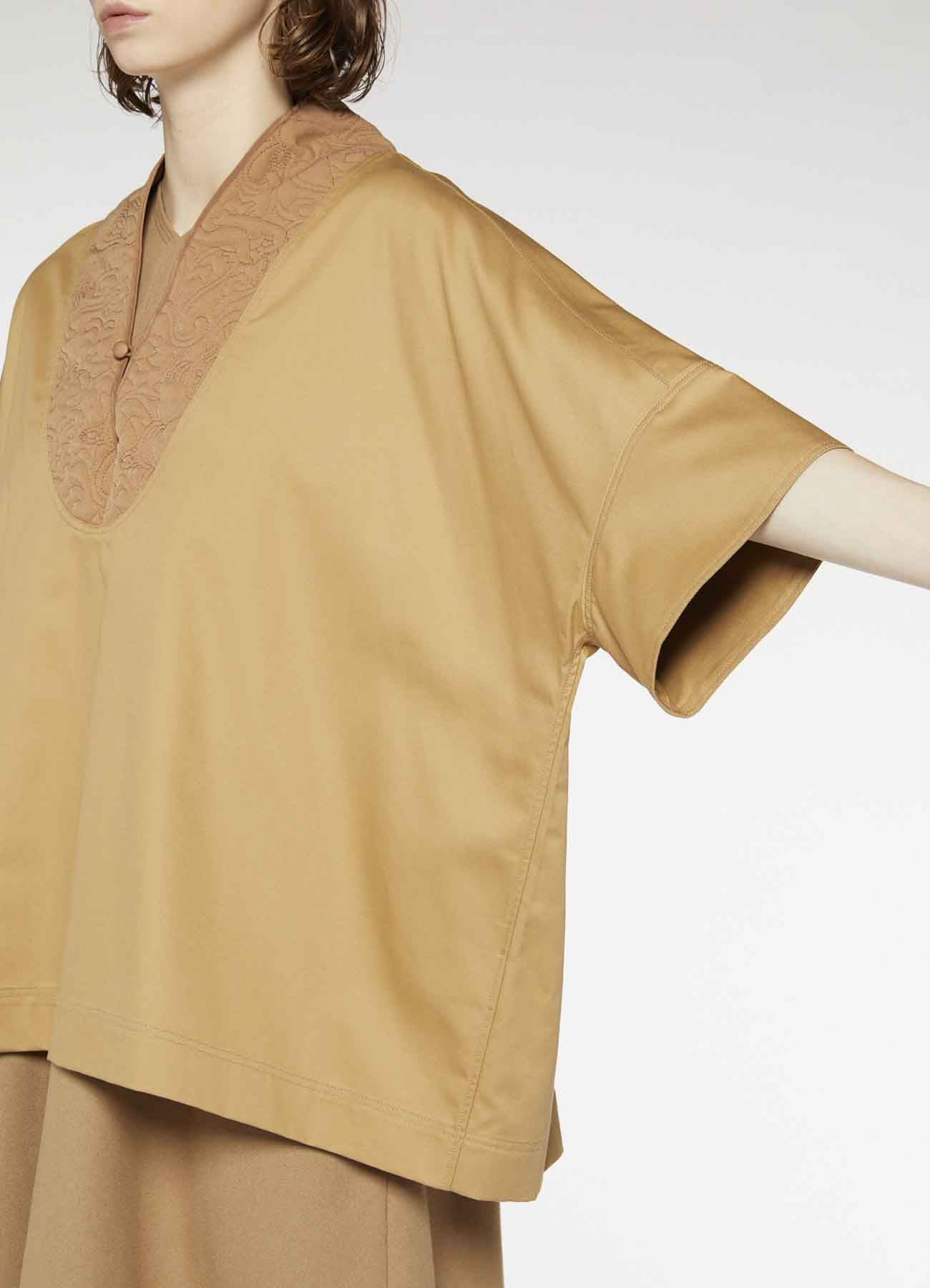 Y'sPINK POLYESTER TWILL QUILTING STAND UP COLLAR BLOUSE