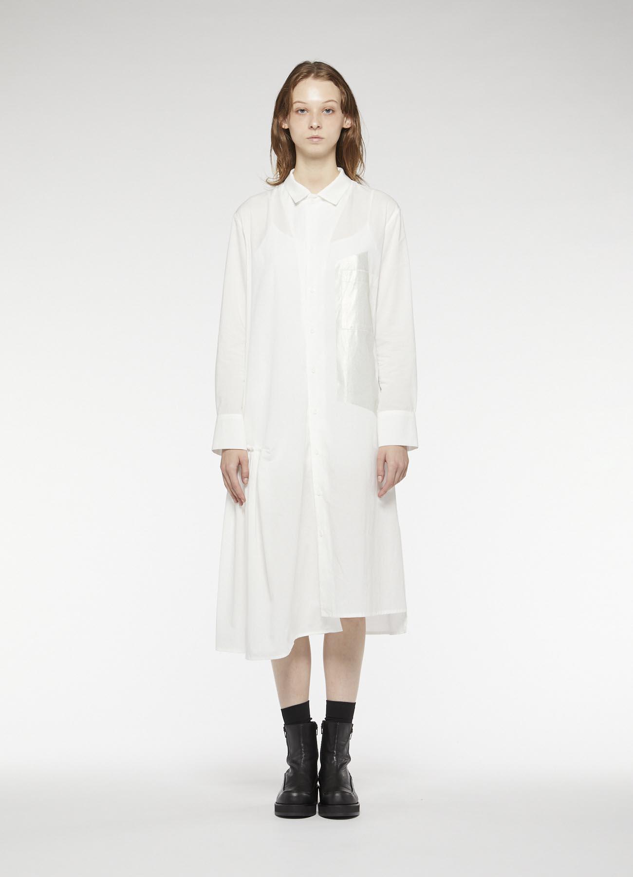 COTTON GATHER SHIRT DRESS
