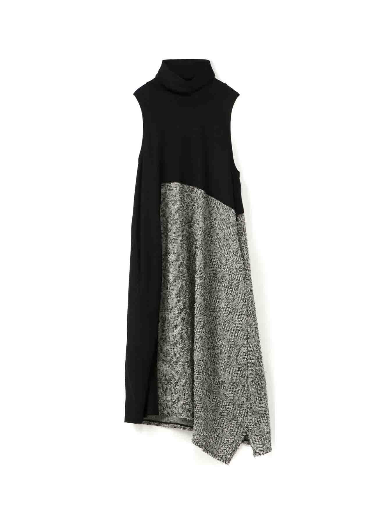 WOOL GLEN CHECK NEEDLE PUNCH HIGHT NECK SLVLESS DRESS