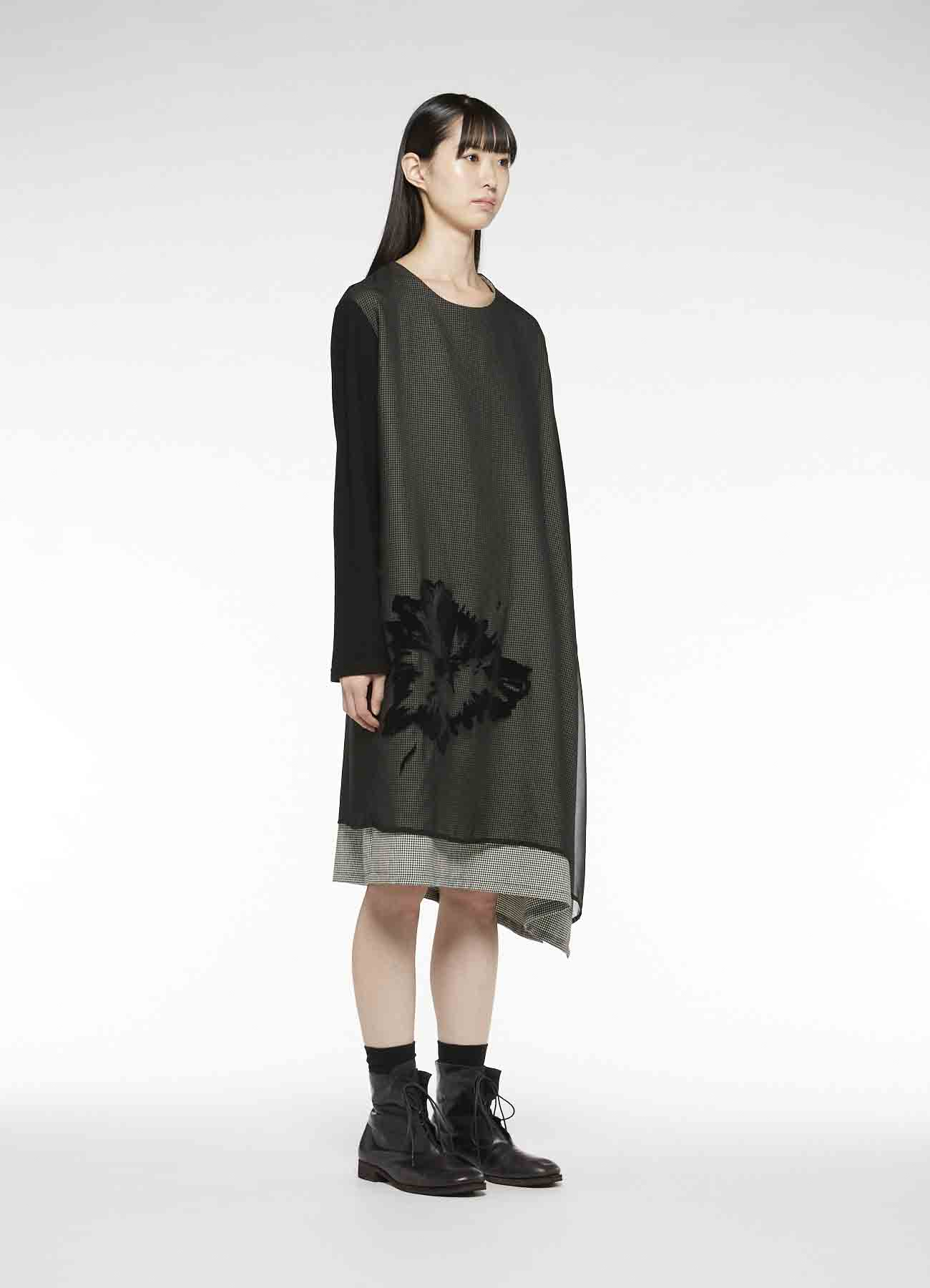 POLYESTER x WOOL SLEEVE CUT&SEWN DOUBLE DRESS